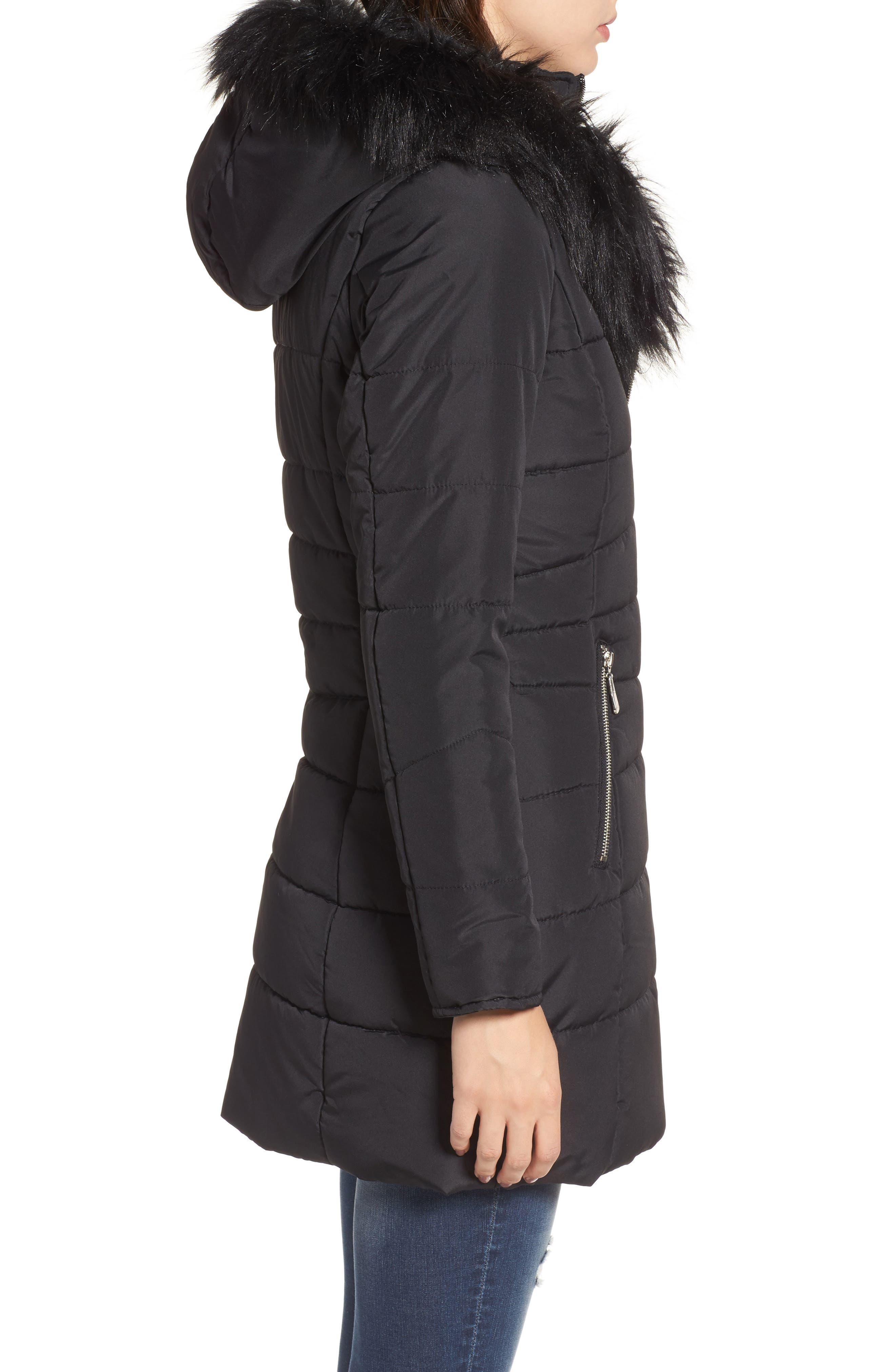 Faux Fur Collar Quilted Walker Coat,                             Alternate thumbnail 3, color,                             Black