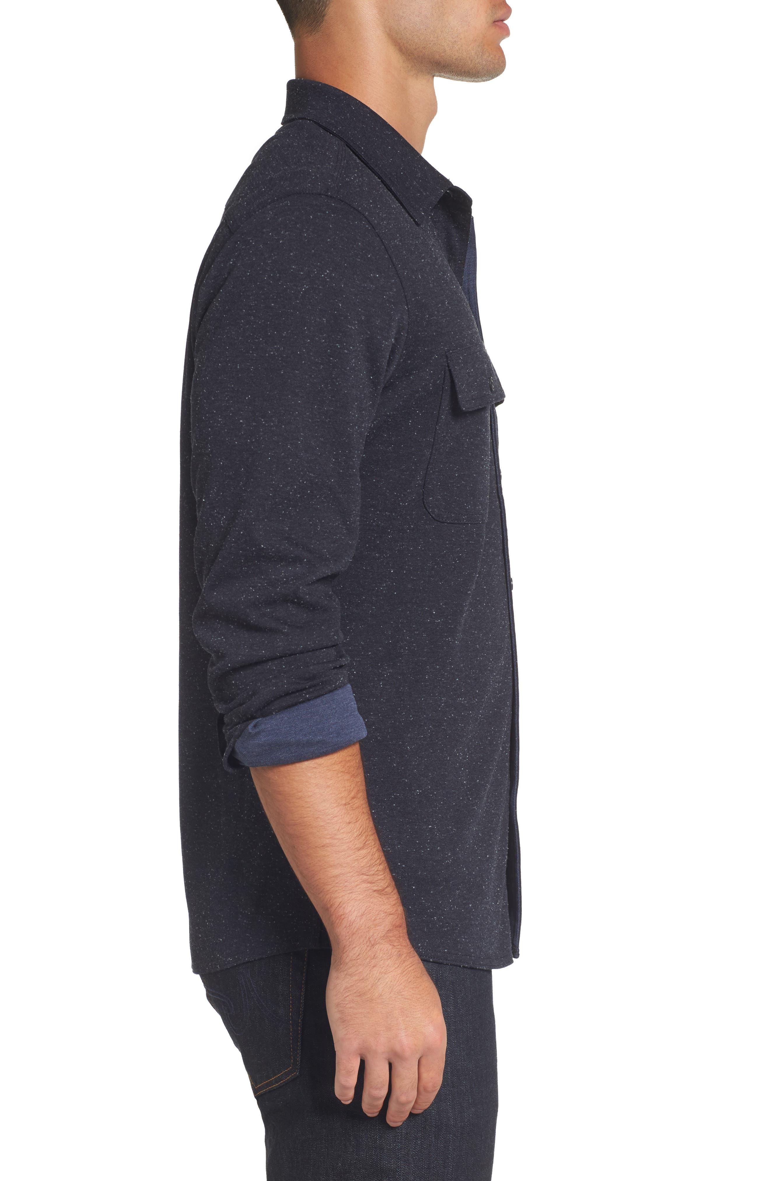 Knit Sport Shirt,                             Alternate thumbnail 3, color,                             Navy Iris Nep
