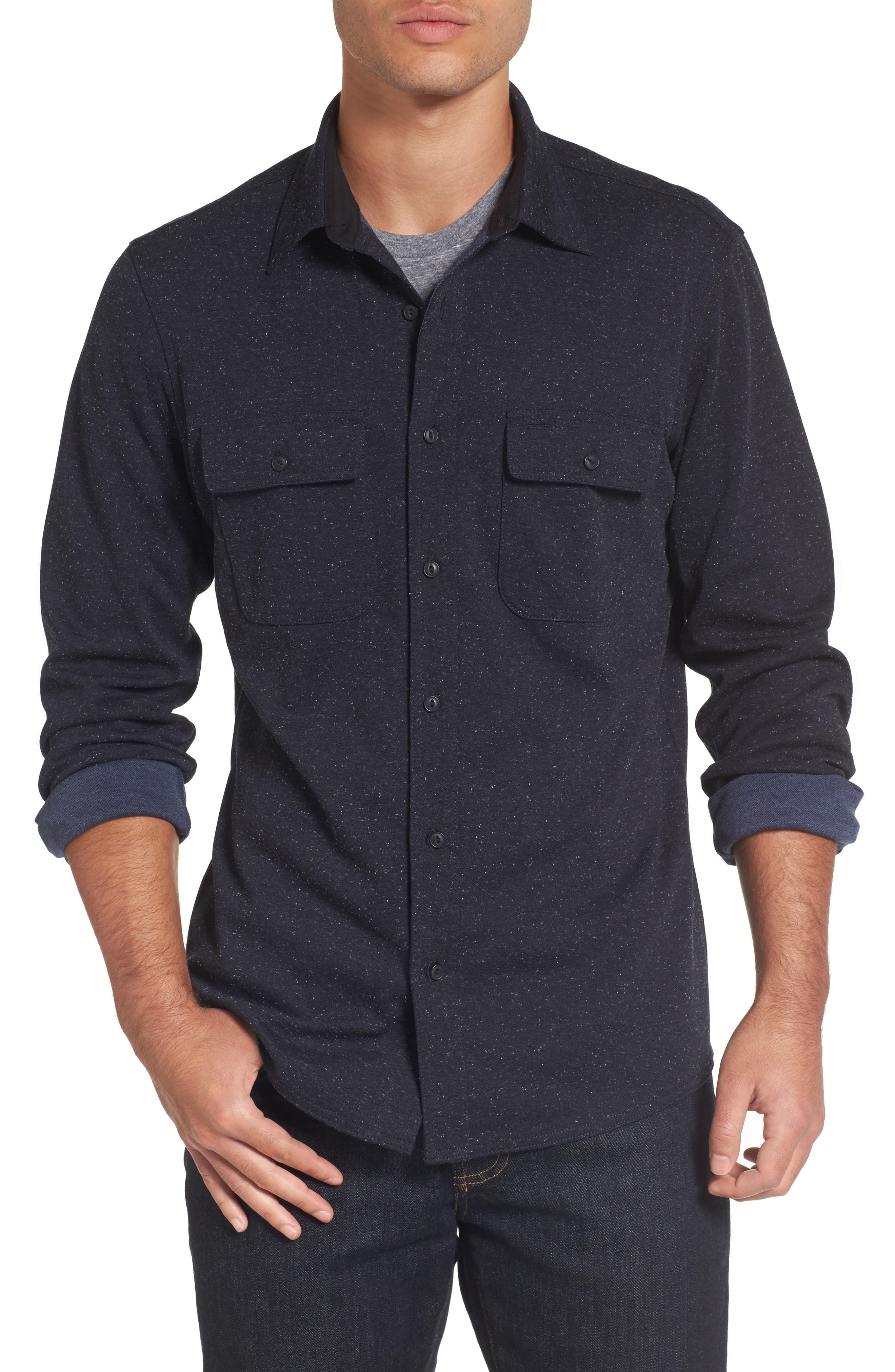 Knit Sport Shirt,                         Main,                         color, Navy Iris Nep