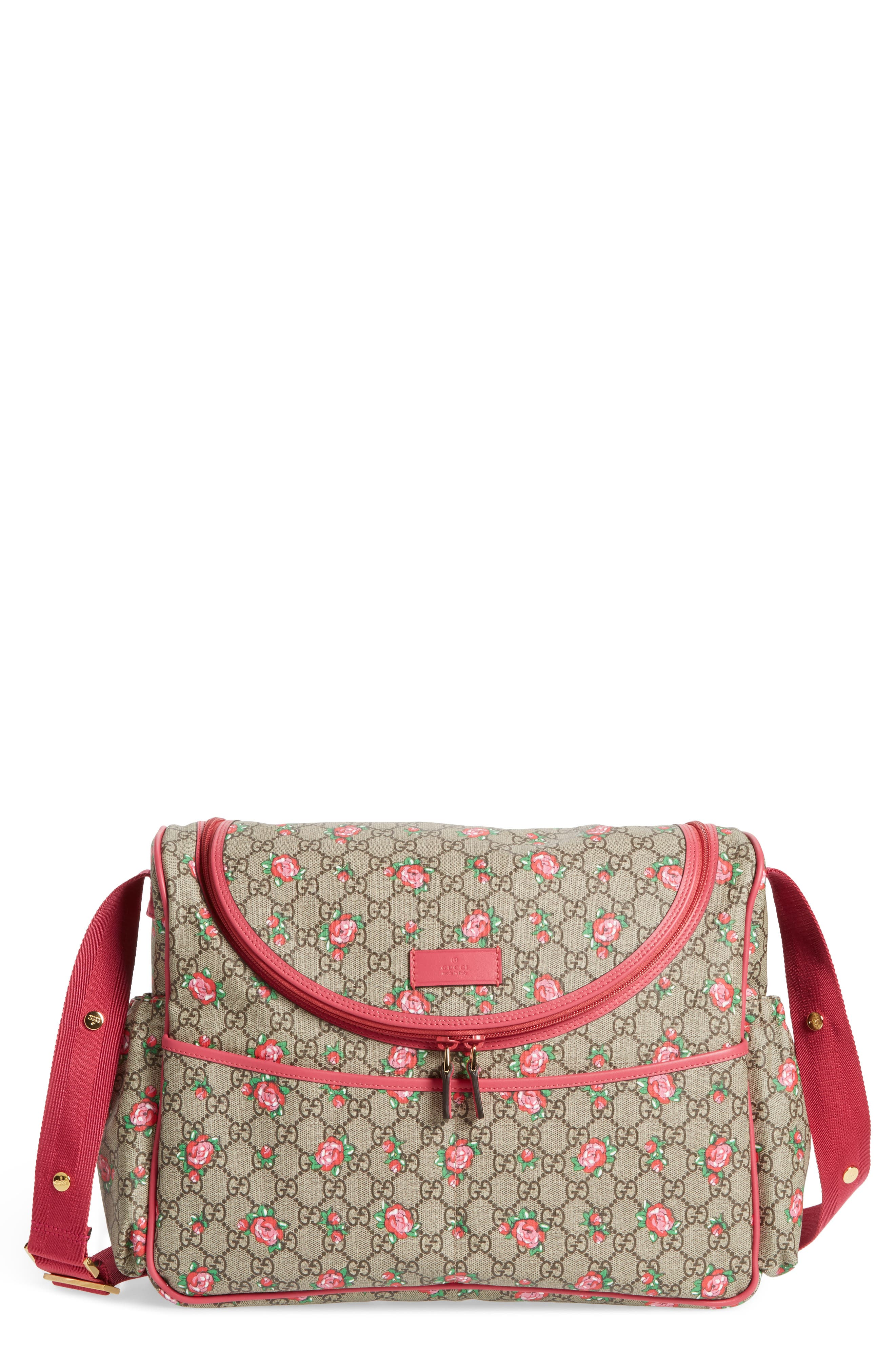 Alternate Image 1 Selected - Gucci Rose Bud GG Supreme Diaper Bag