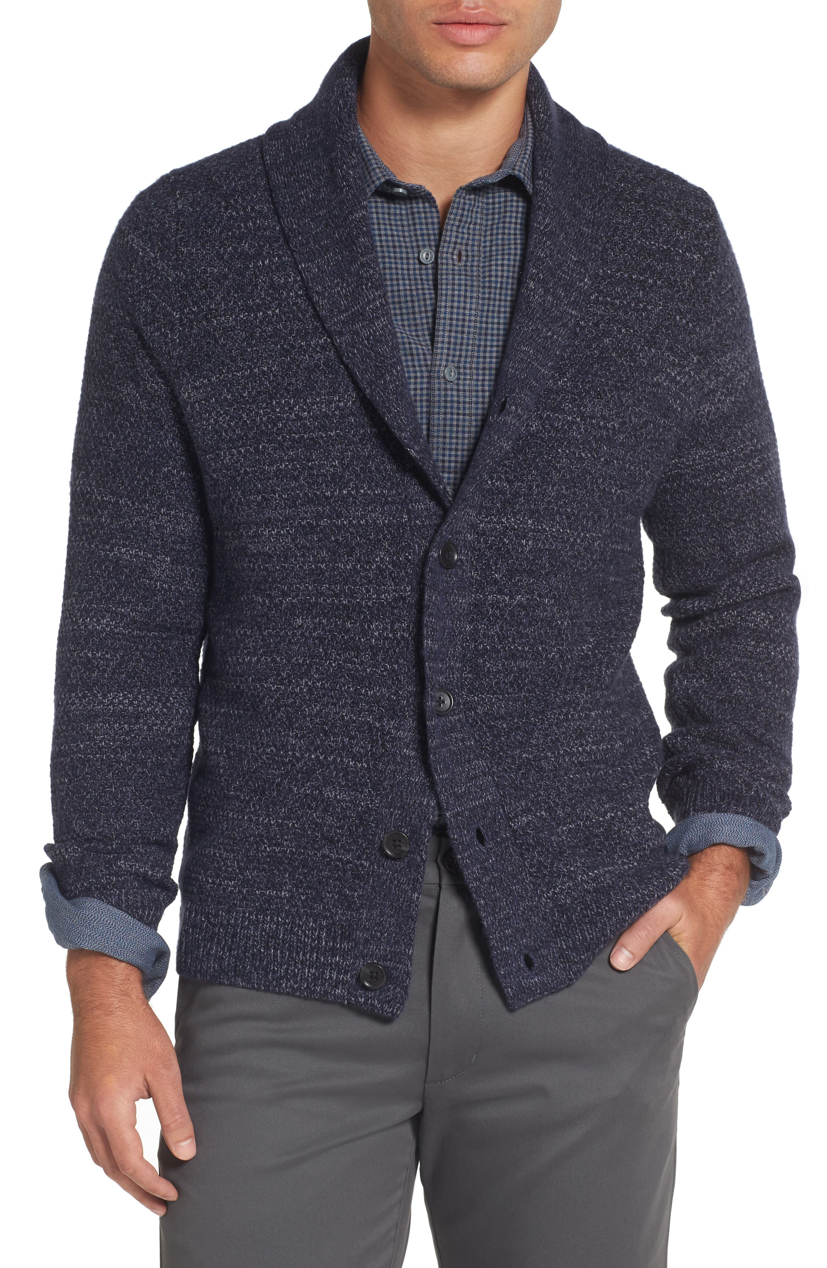 Shawl Collar Cardigan,                         Main,                         color, Navy Iris Combo