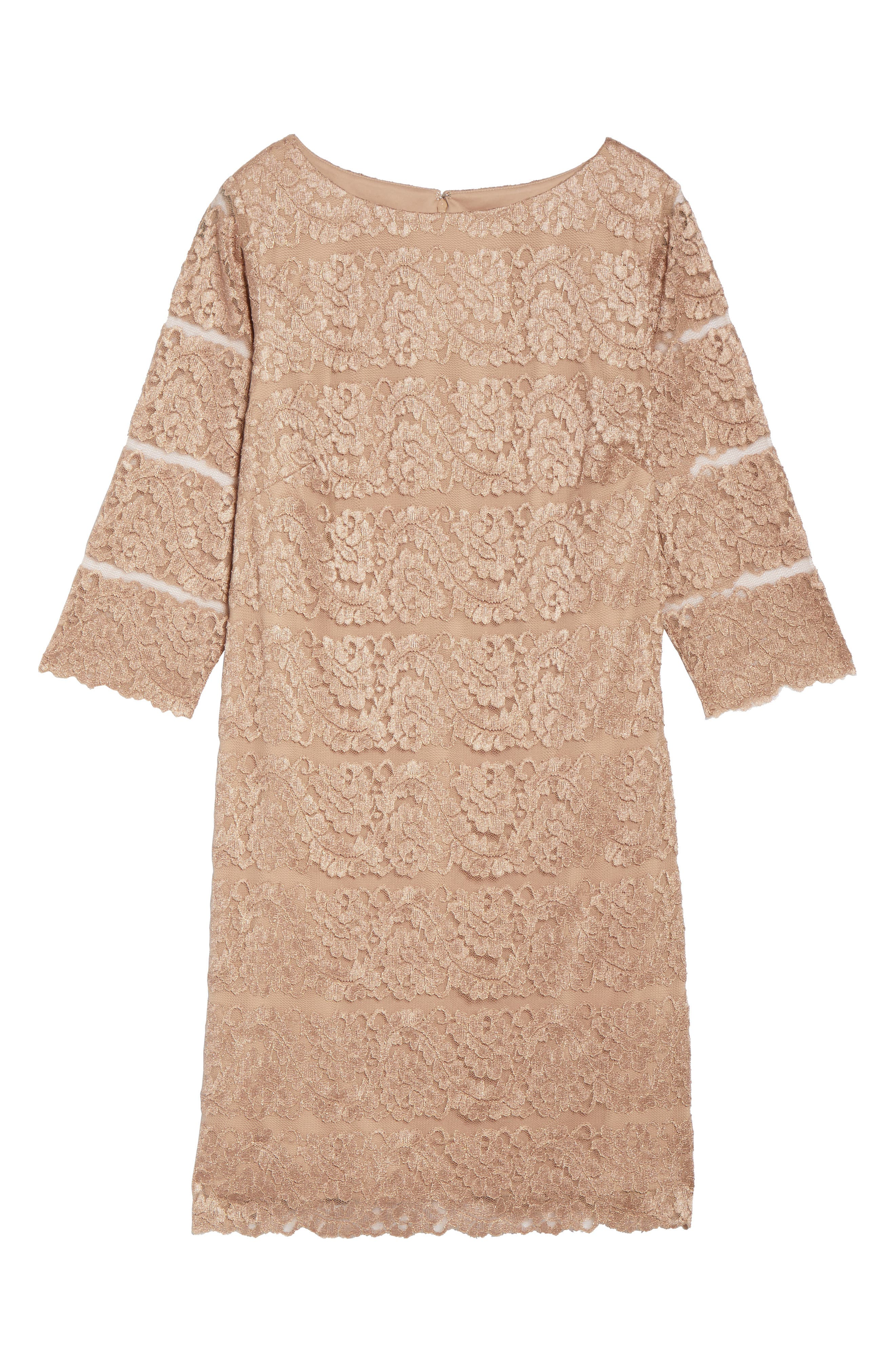 Lace Shift Dress,                             Alternate thumbnail 6, color,                             Almond