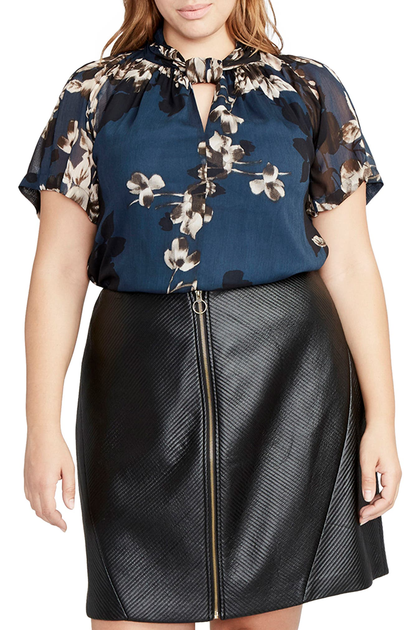 RACHEL Rachel Roy Kimono Print Chiffon Top (Plus Size)