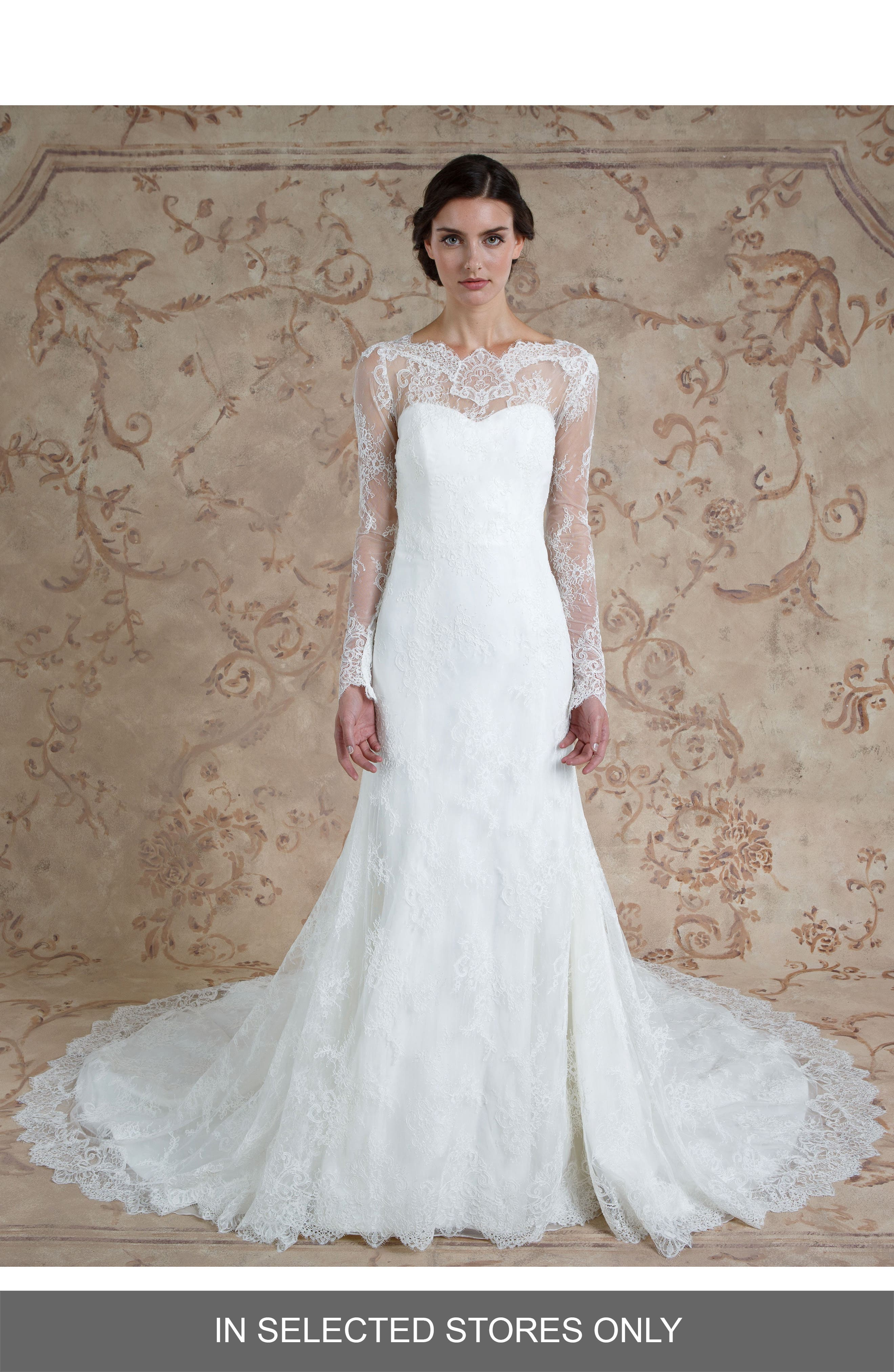 Miriam Lace Trumpet Gown,                         Main,                         color, Ivory
