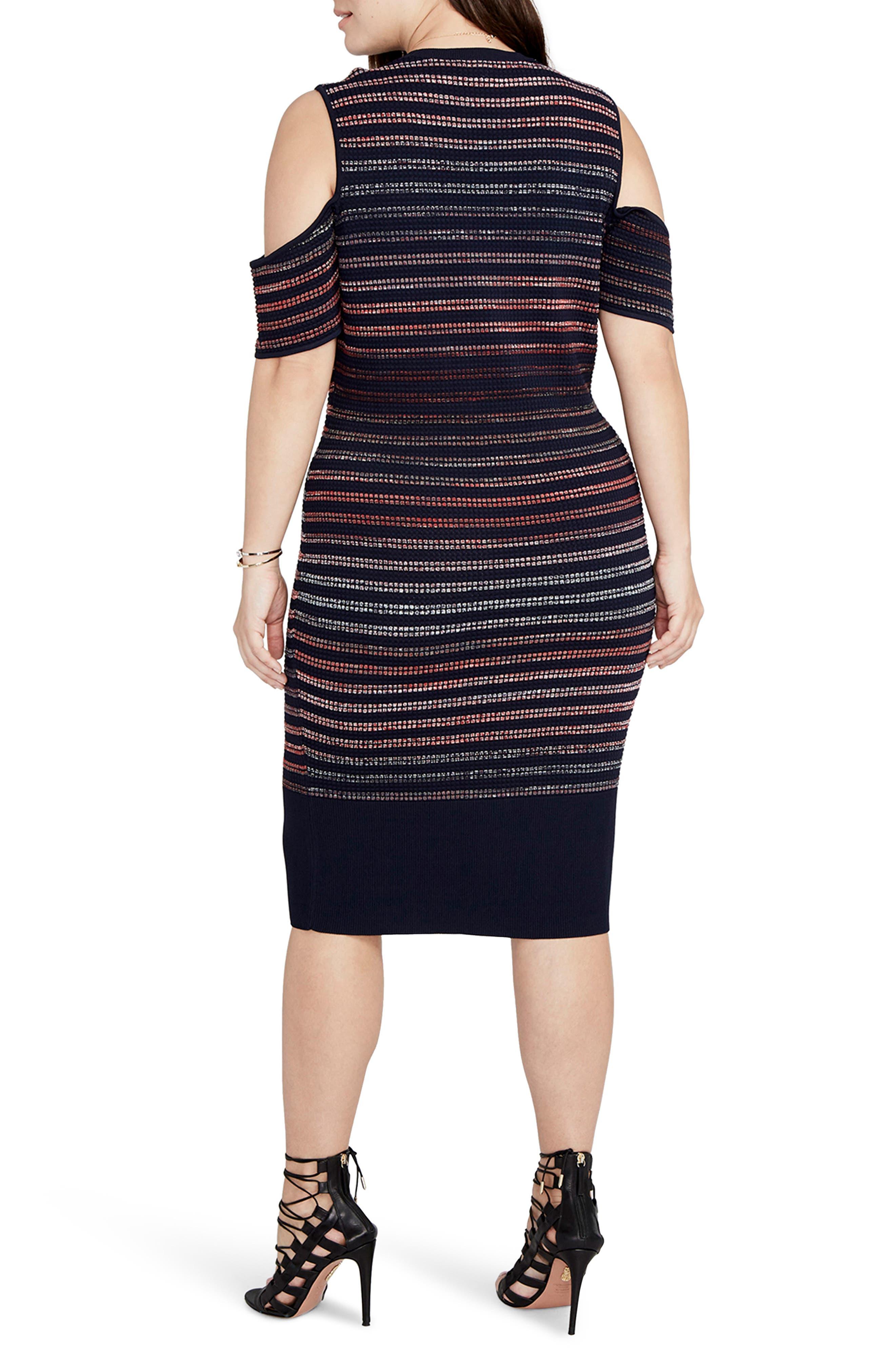 Ombré Stripe Cold Shoulder Sweater Dress,                             Alternate thumbnail 2, color,                             Navy/ Port Combo