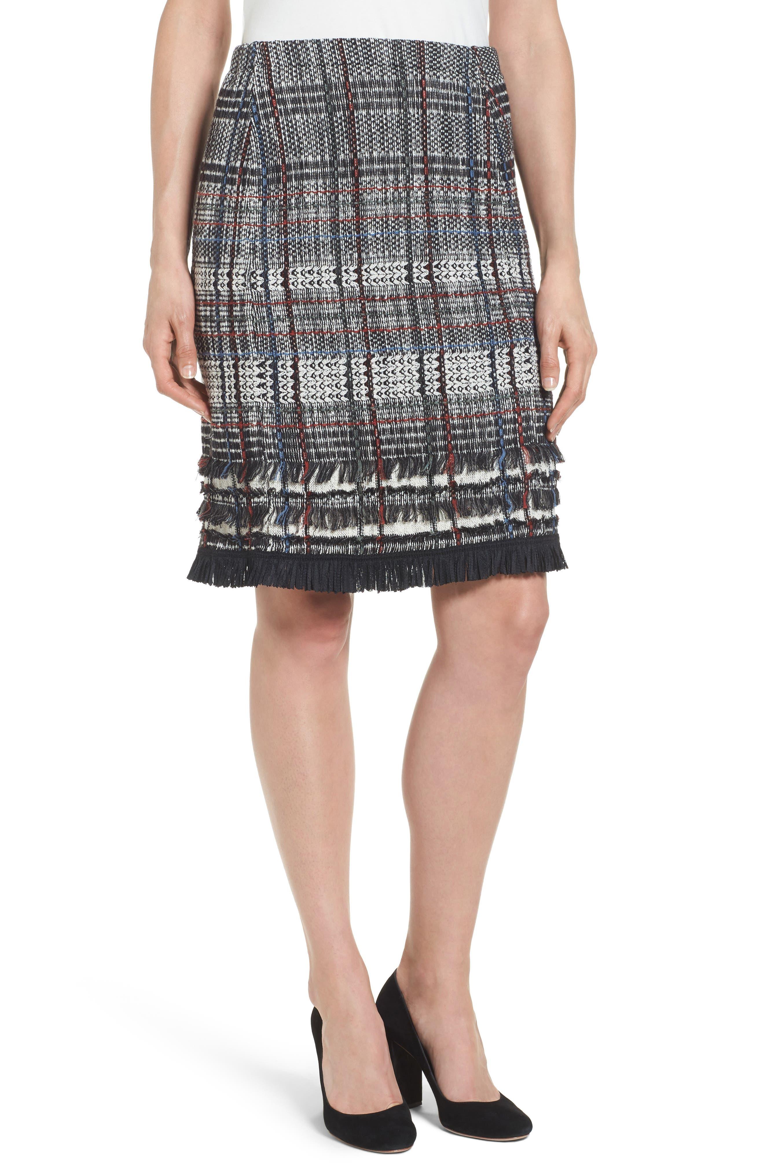 Checked Fringe Skirt,                             Main thumbnail 1, color,                             Multi