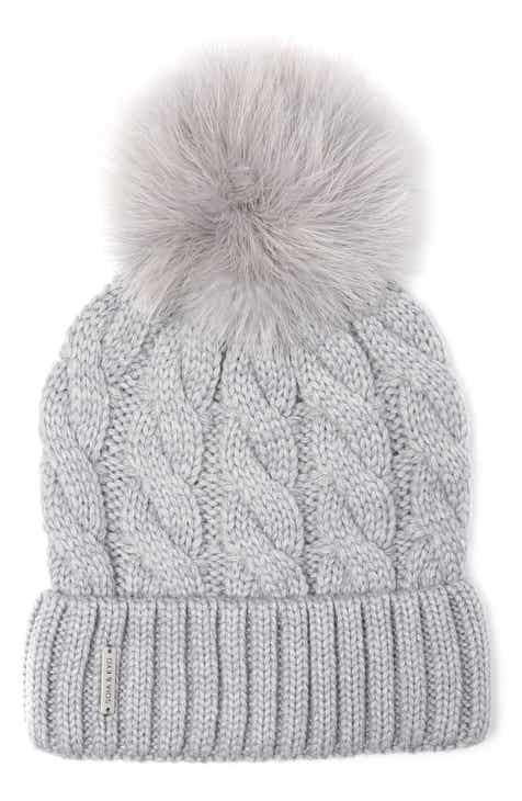 Soia   Kyo Cable Knit Beanie with Removable Feather Pompom 5c077ddc8f2