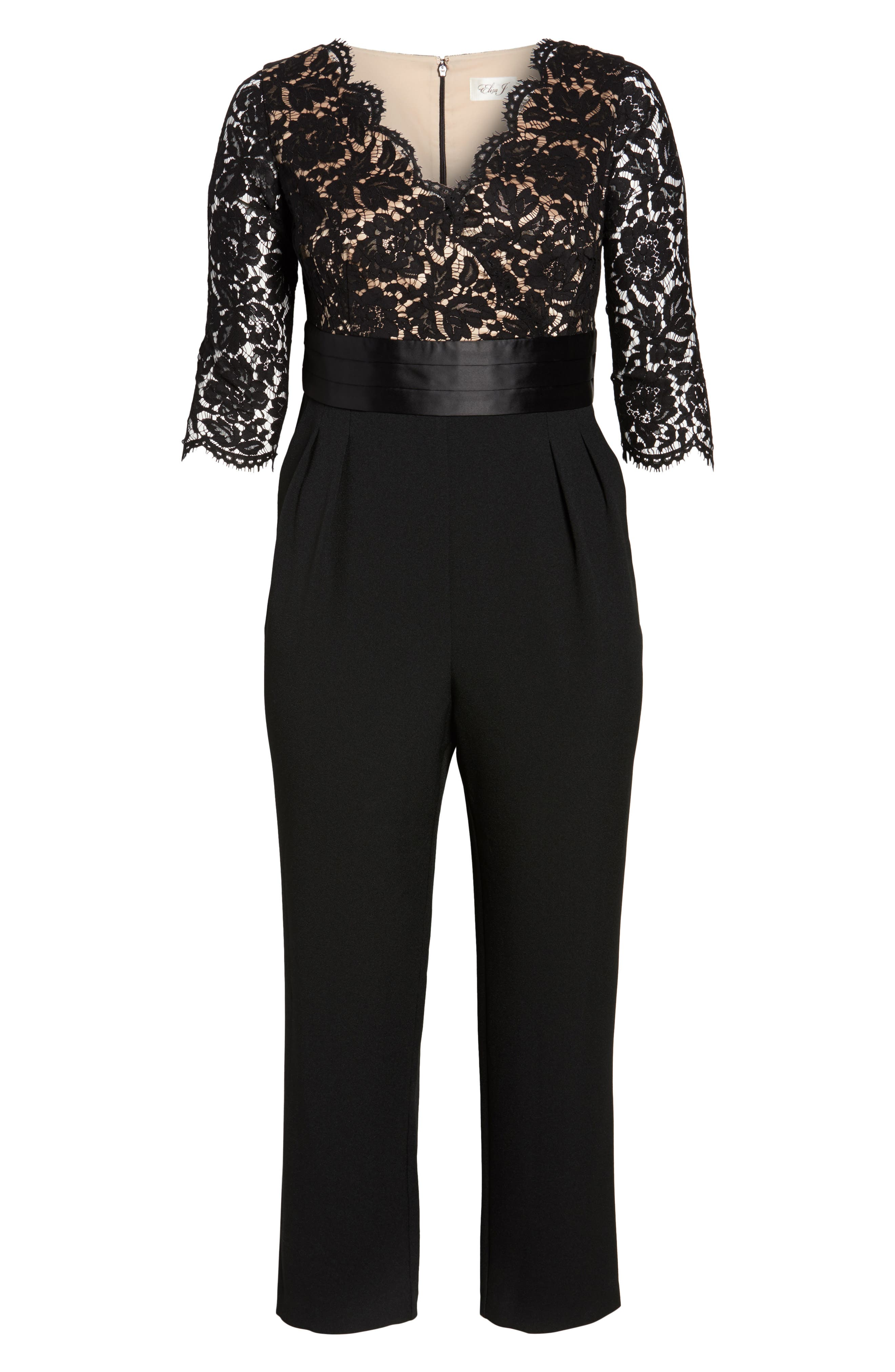 Alternate Image 6  - Eliza J Lace Bodice Jumpsuit (Plus Size)