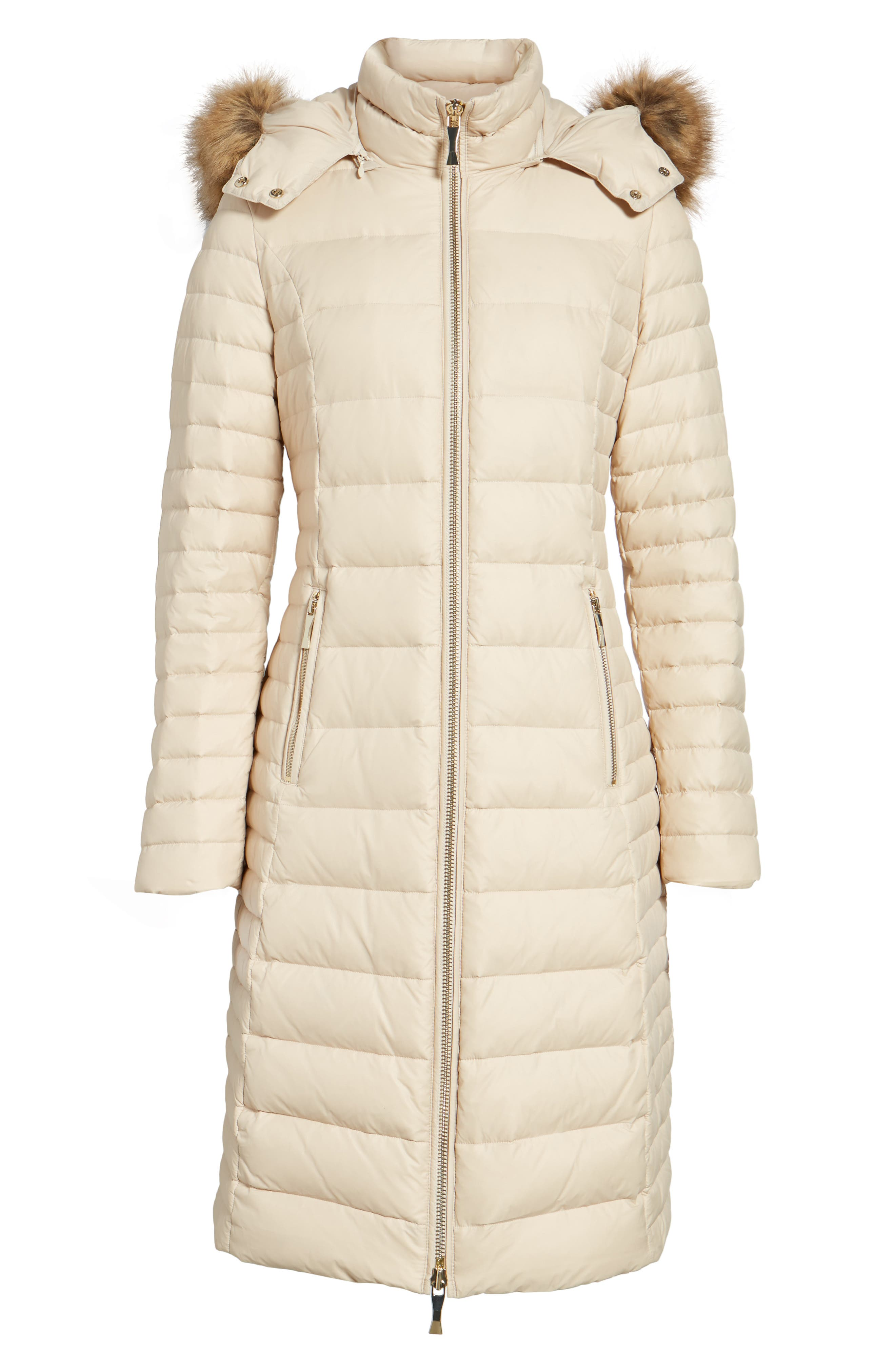 down puffer coat with faux fur trim,                             Alternate thumbnail 6, color,                             Deco Beige