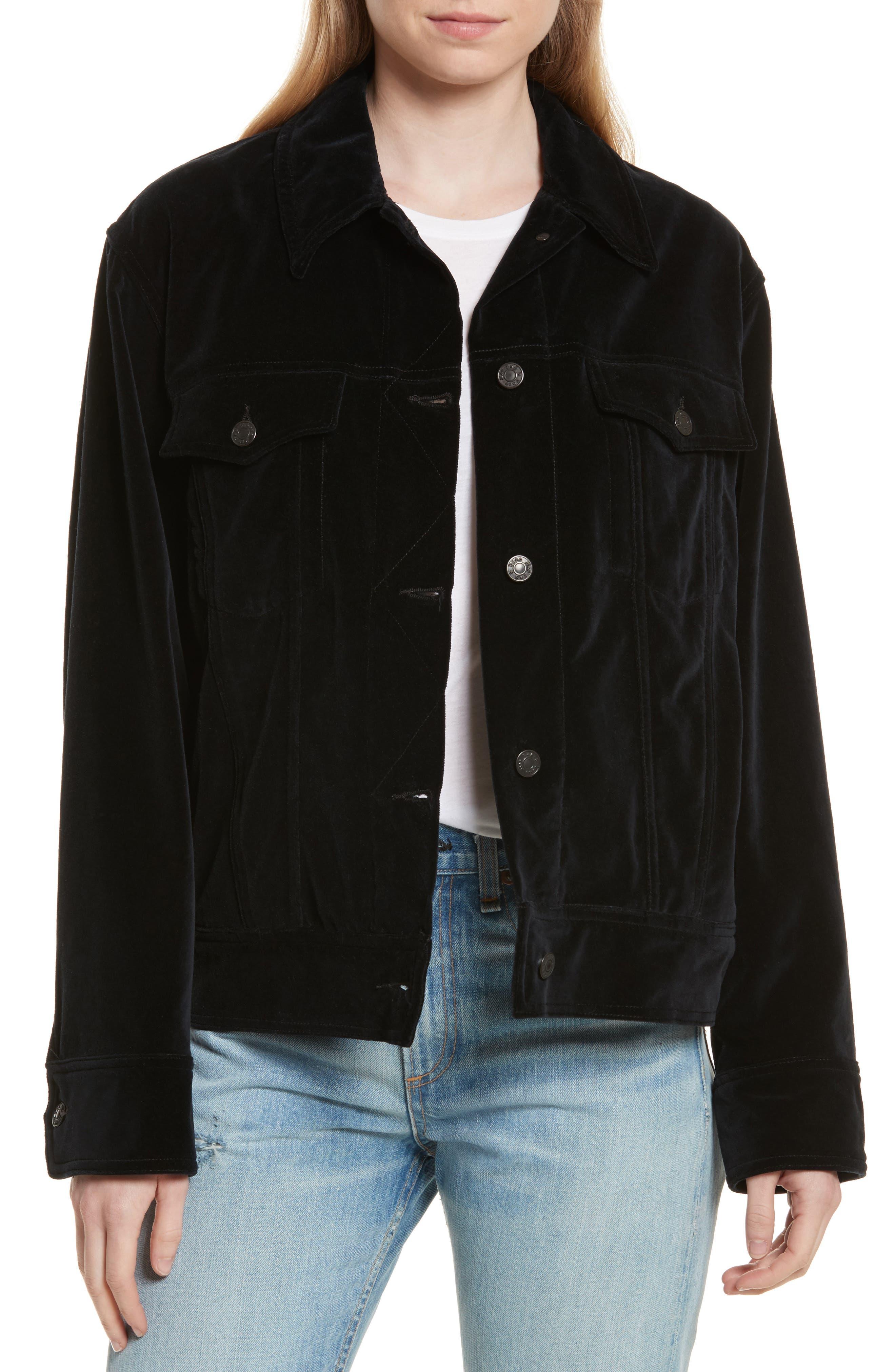 Oversize Velvet Jacket,                             Main thumbnail 1, color,                             Black Velvet