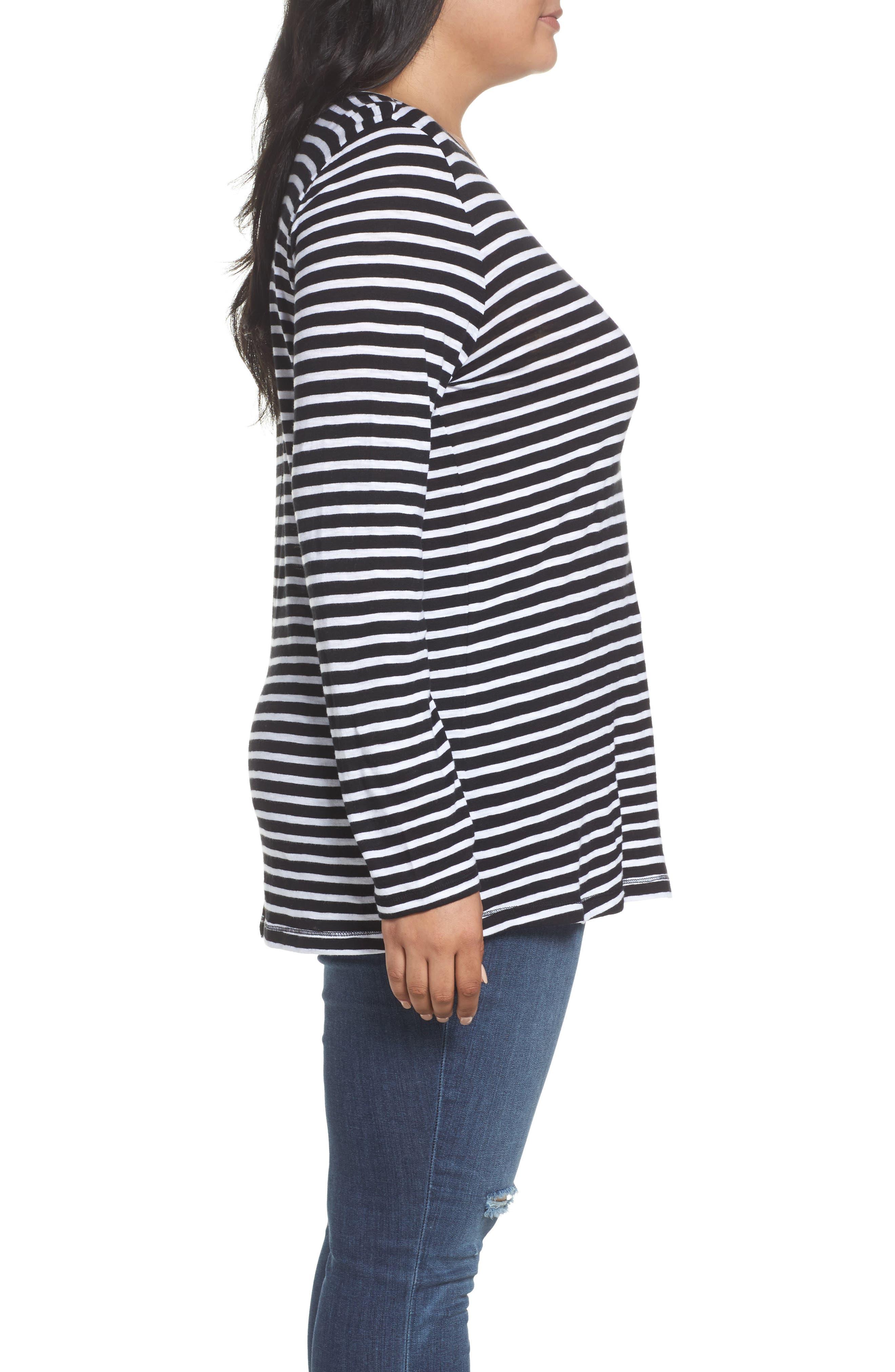 Long Sleeve Crewneck Tee,                             Alternate thumbnail 23, color,                             Black- White Maisie Stripe