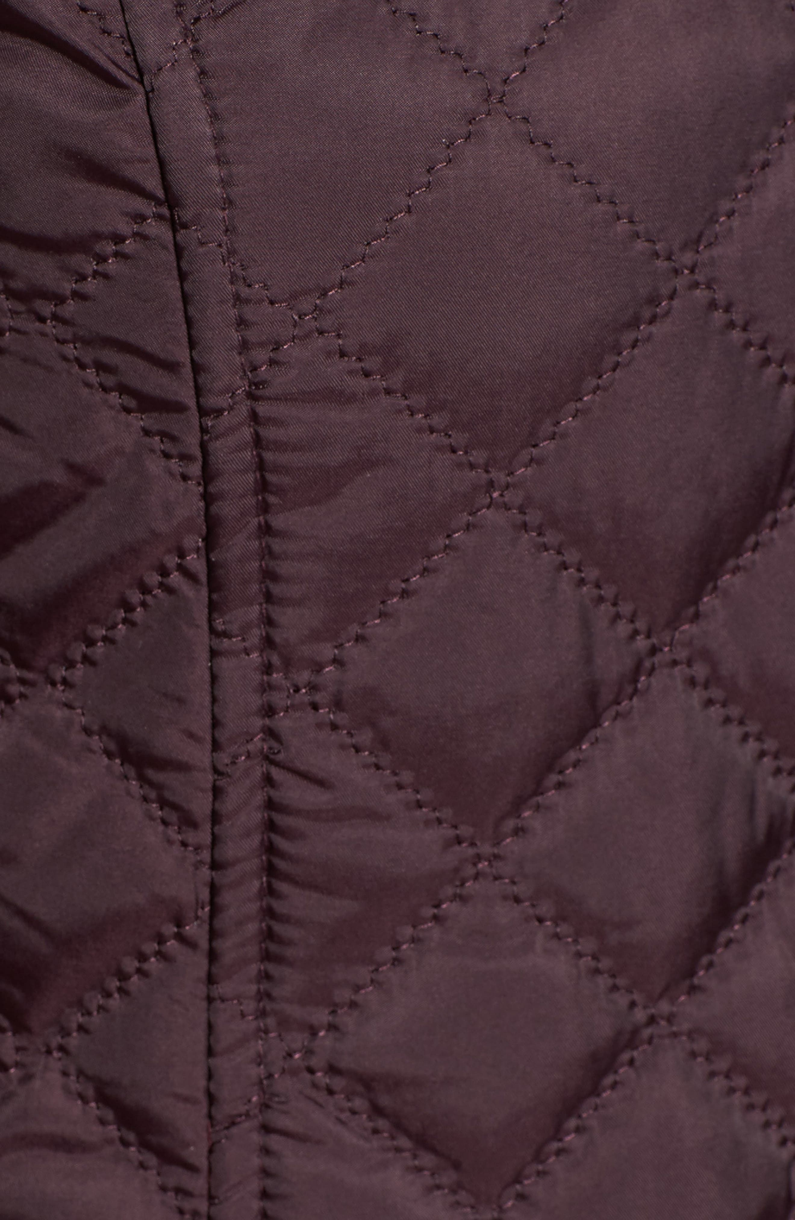 Hooded Quilted Jacket,                             Alternate thumbnail 5, color,                             Claret
