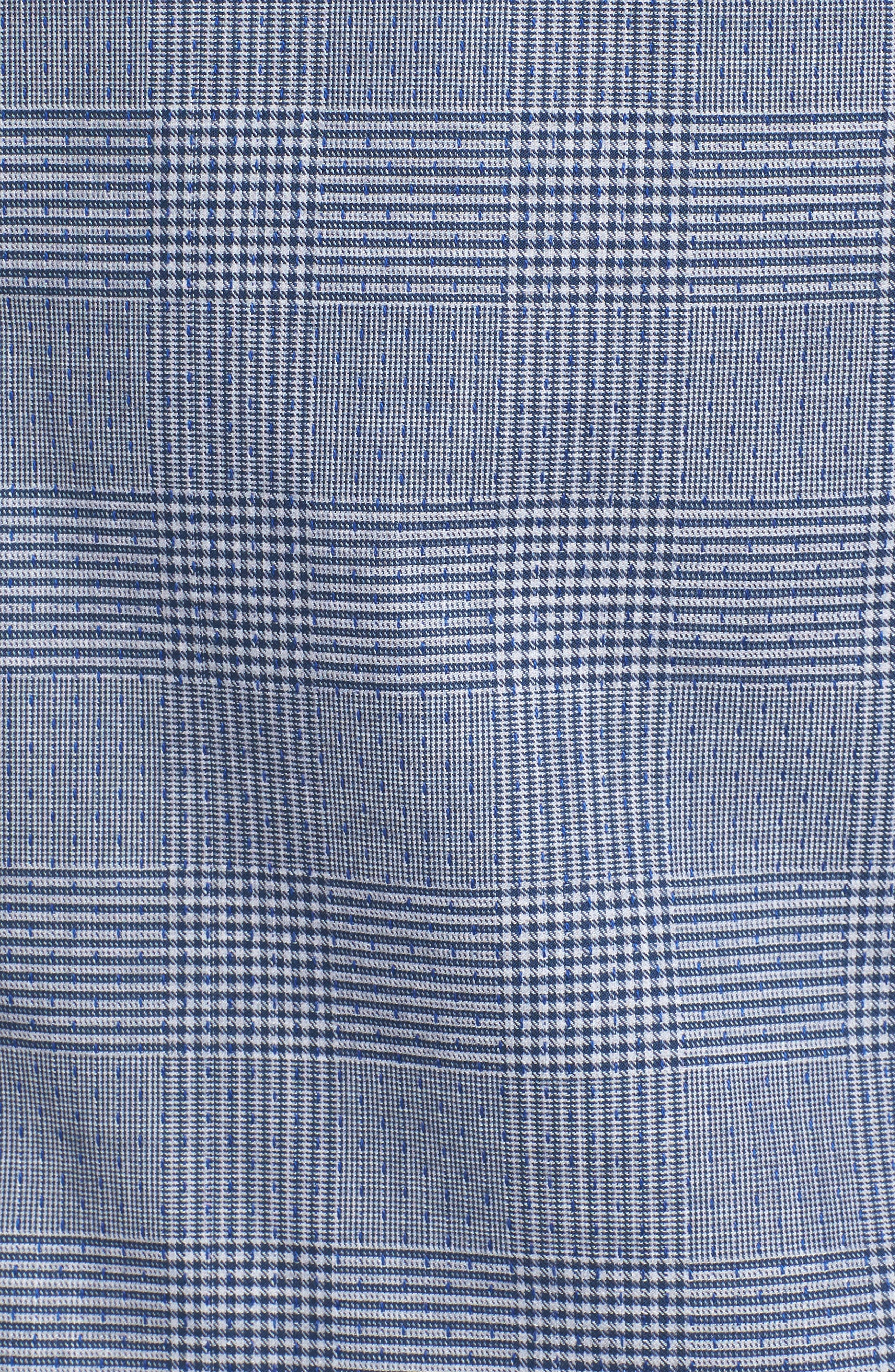 Hacking Slim Fit Glen Plaid Sport Shirt,                             Alternate thumbnail 5, color,                             Navy Check With Blue Dobby