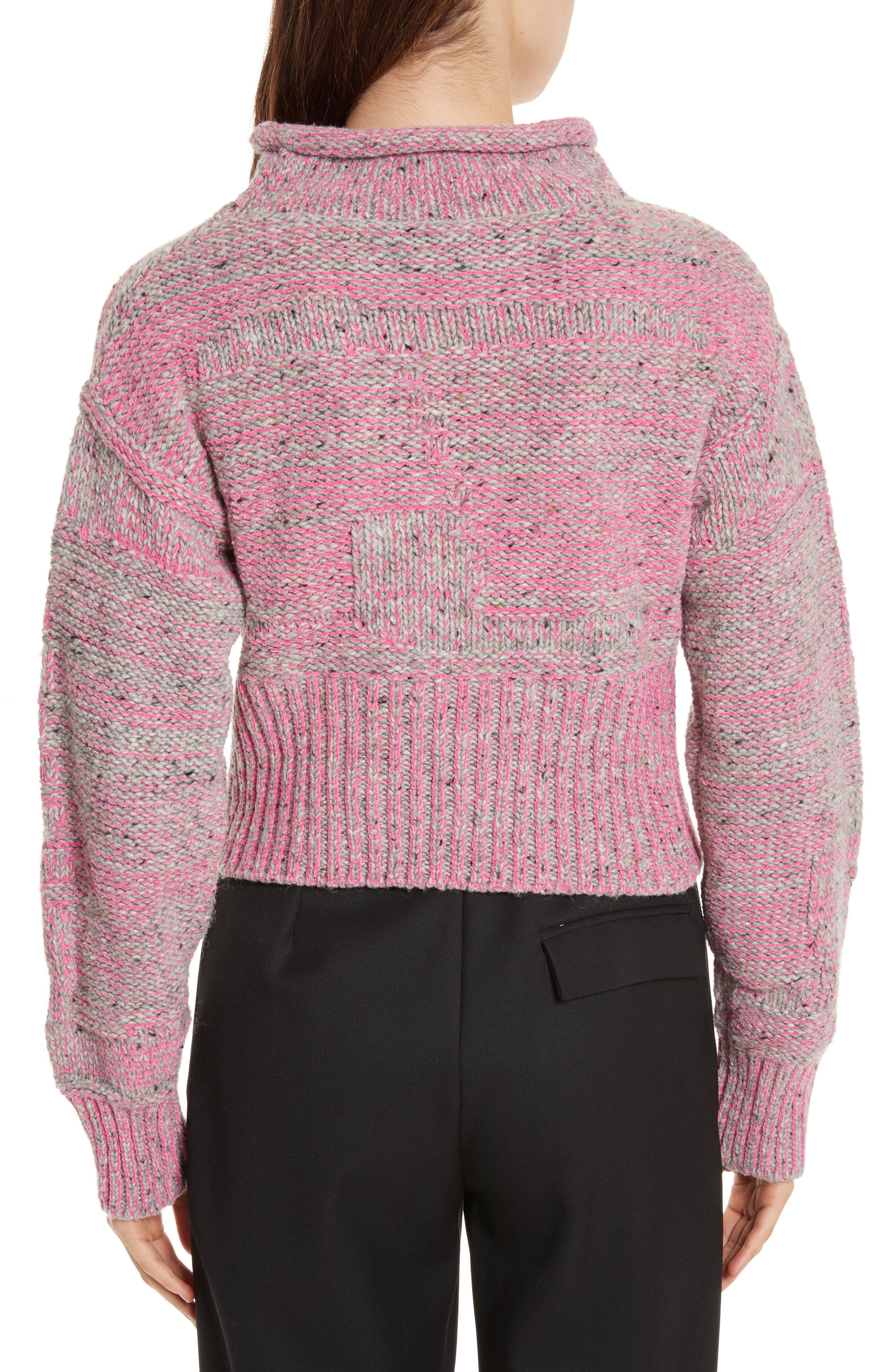Wool Blend Funnel Neck Sweater,                             Alternate thumbnail 2, color,                             Candy Pink