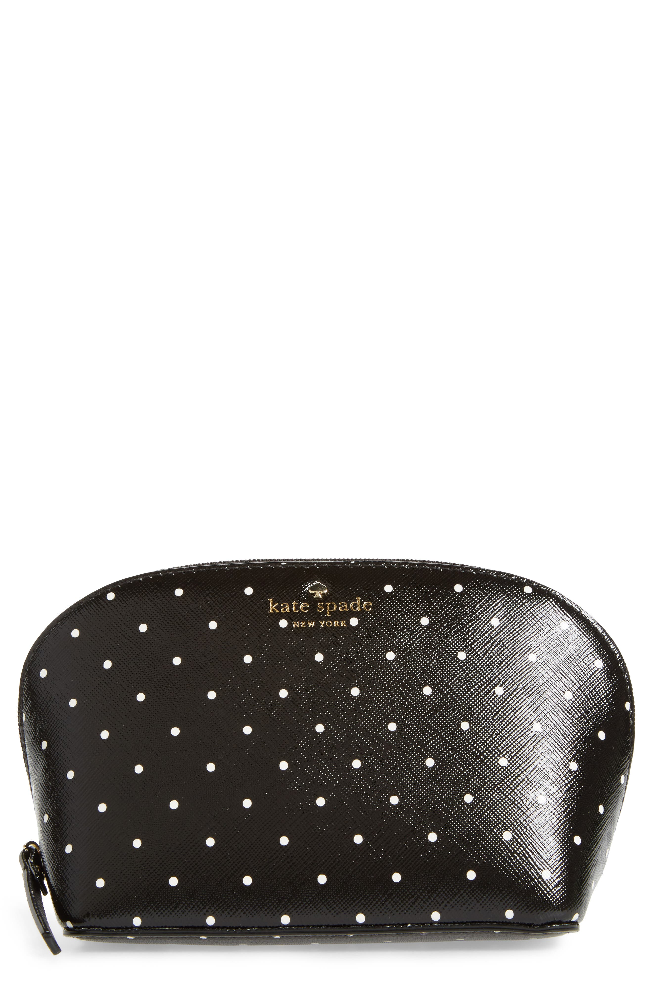 brooks drive - small abalene faux leather pouch,                         Main,                         color, Black/ Cream