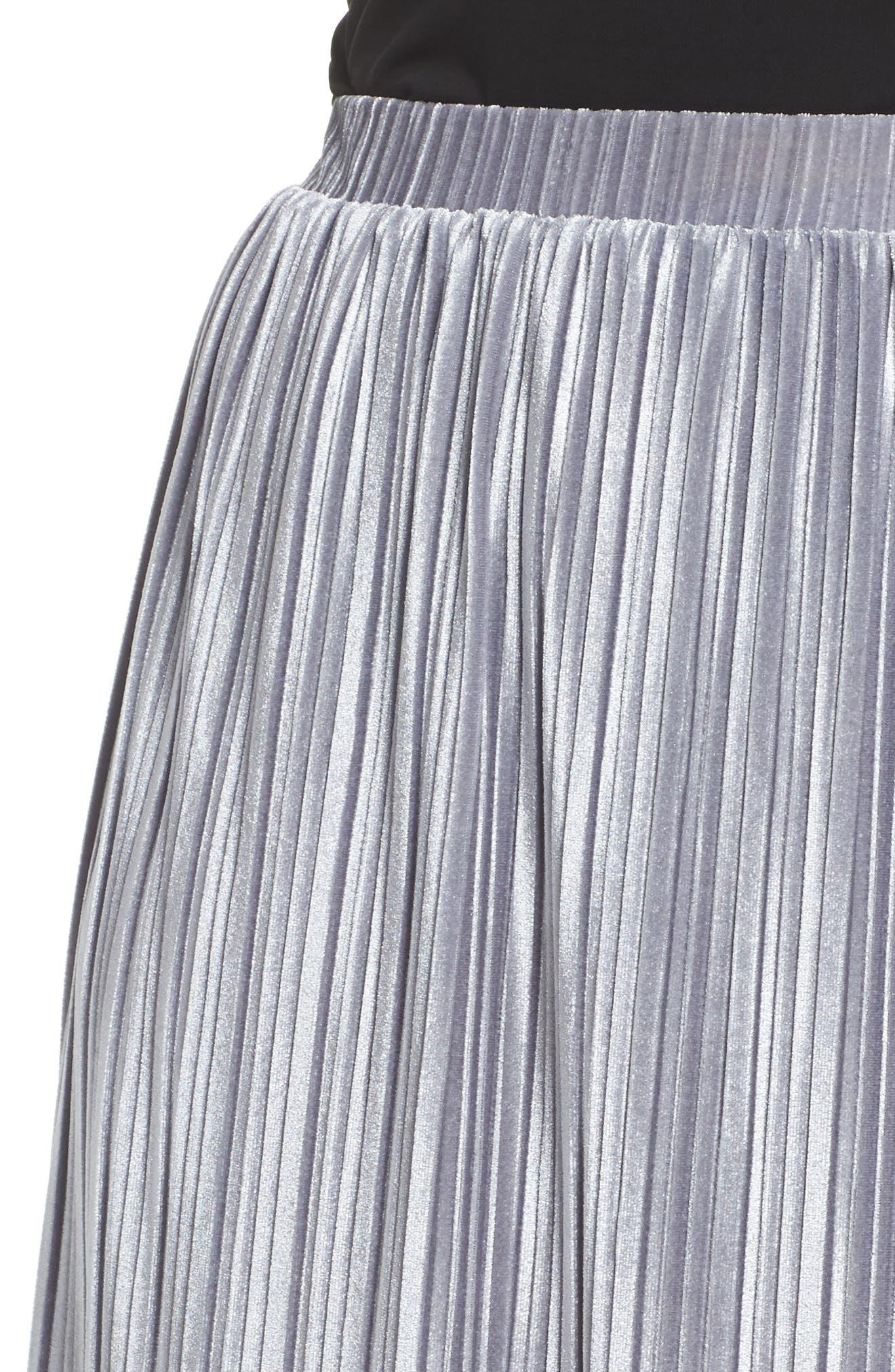 Pleat Velour Midi Skirt,                             Alternate thumbnail 5, color,                             Grey