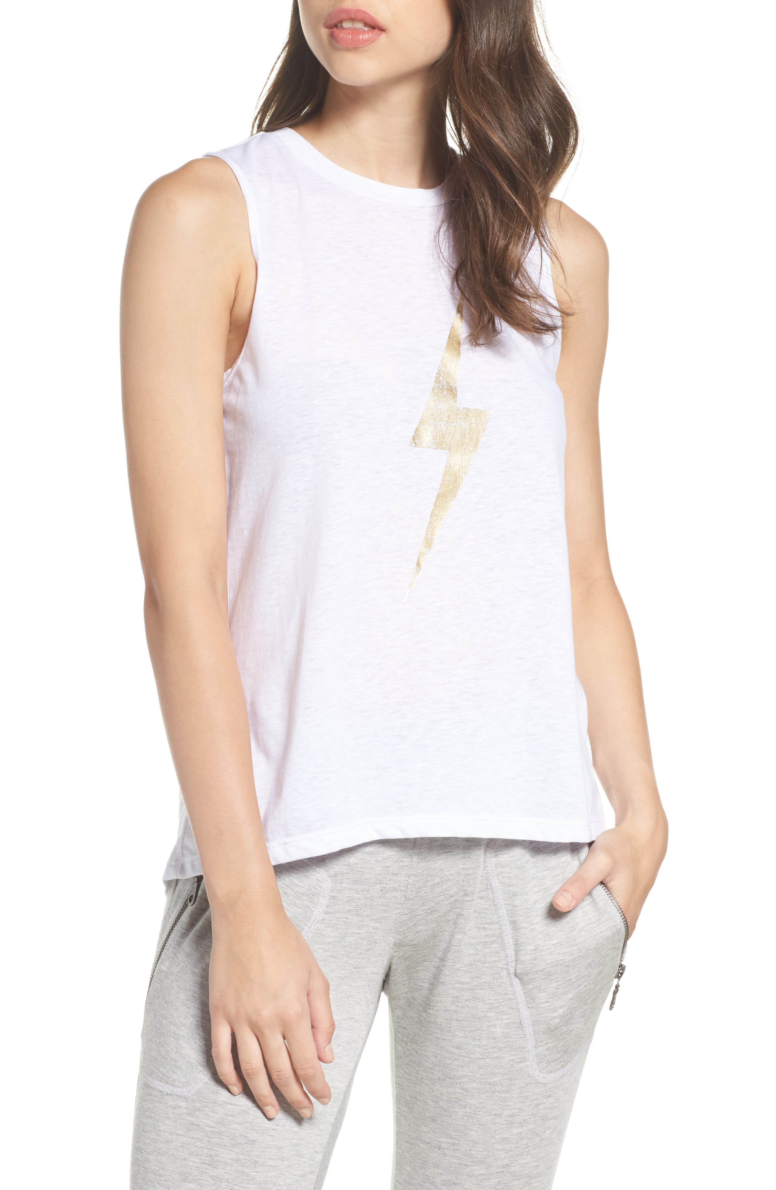 High/Low Muscle Tank,                             Main thumbnail 1, color,                             White