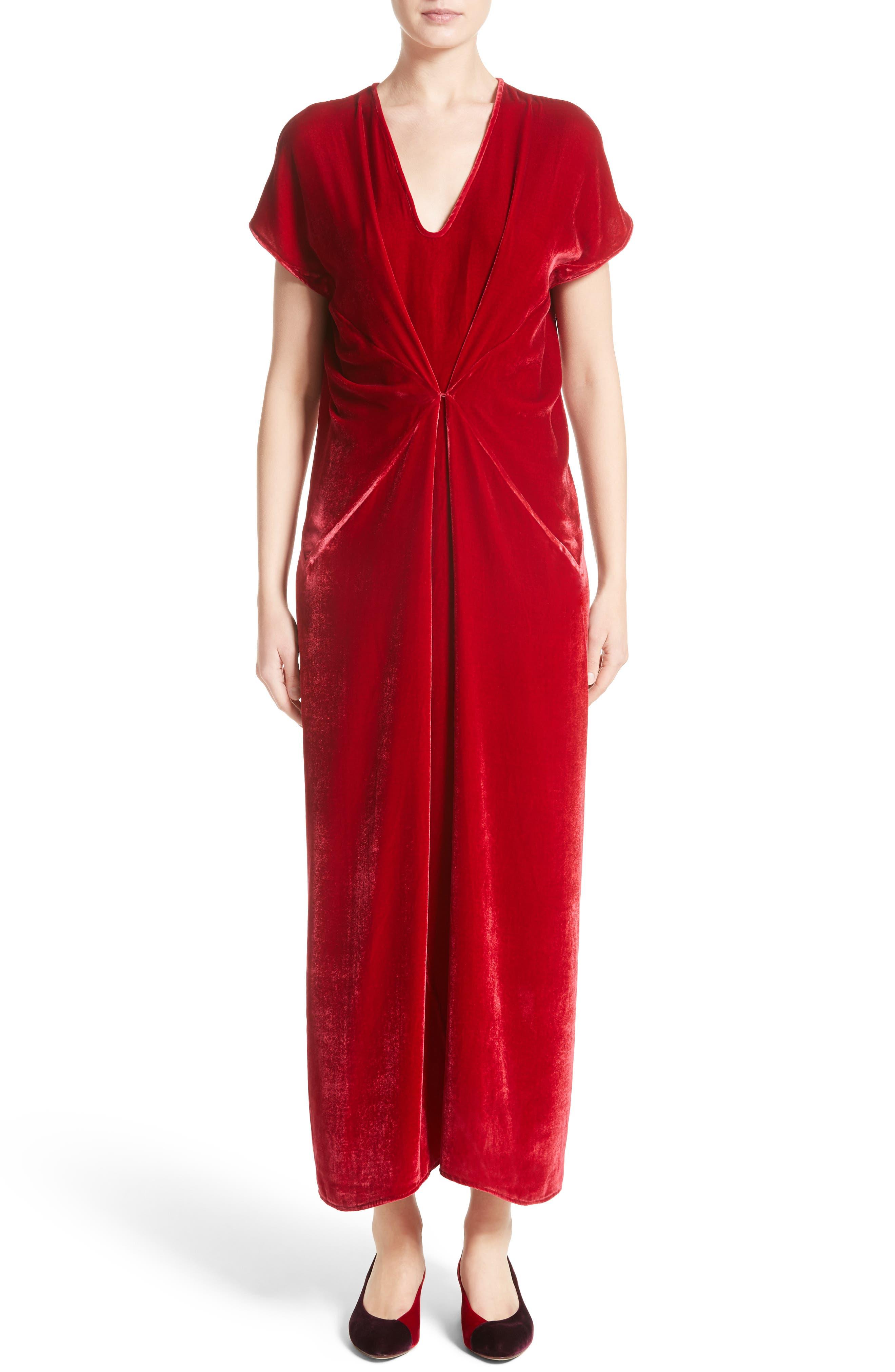 Sana Velvet Dress,                             Main thumbnail 1, color,                             Crimson
