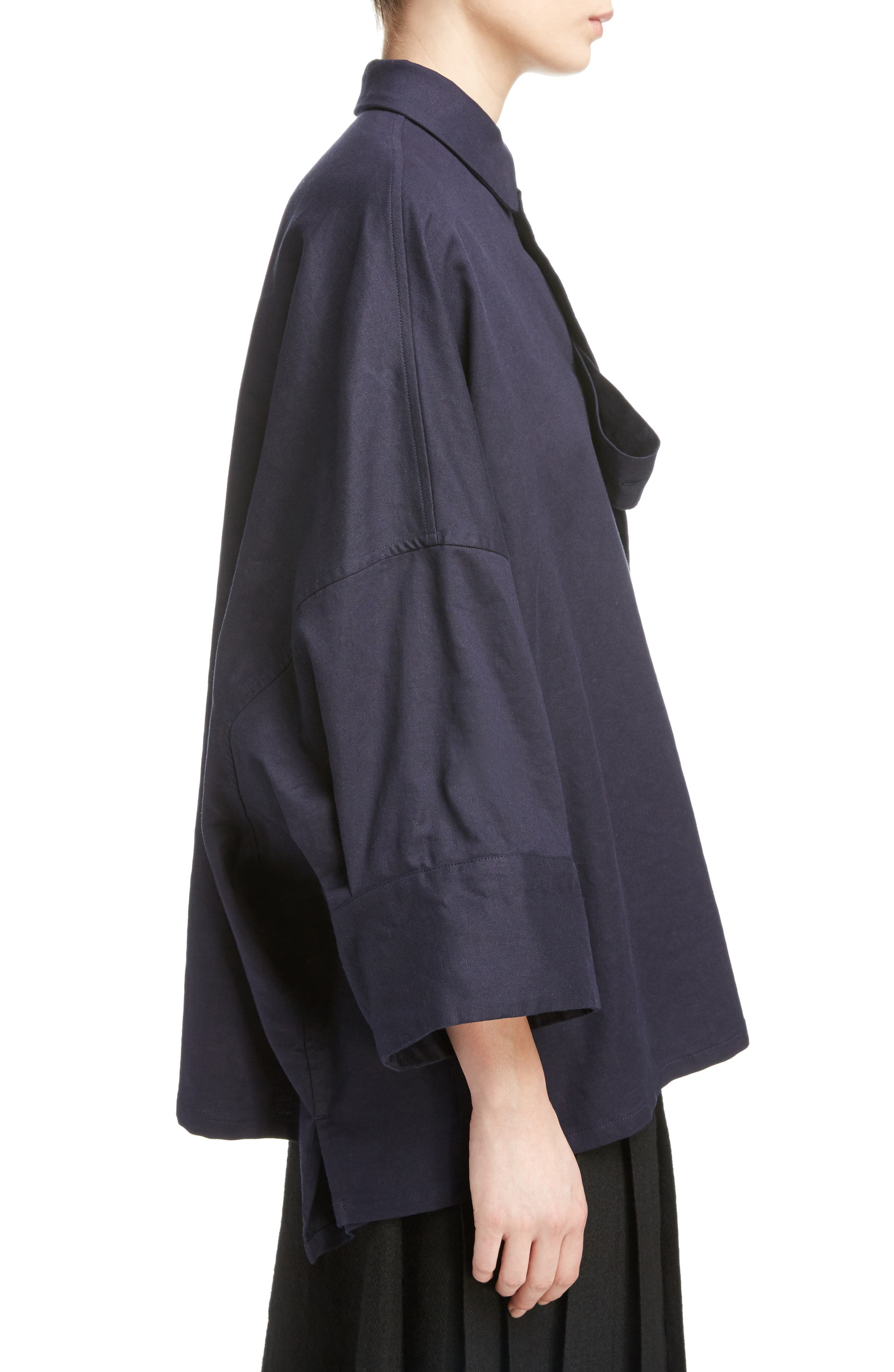 Fly Front Oversize Blouse,                             Alternate thumbnail 3, color,                             Navy