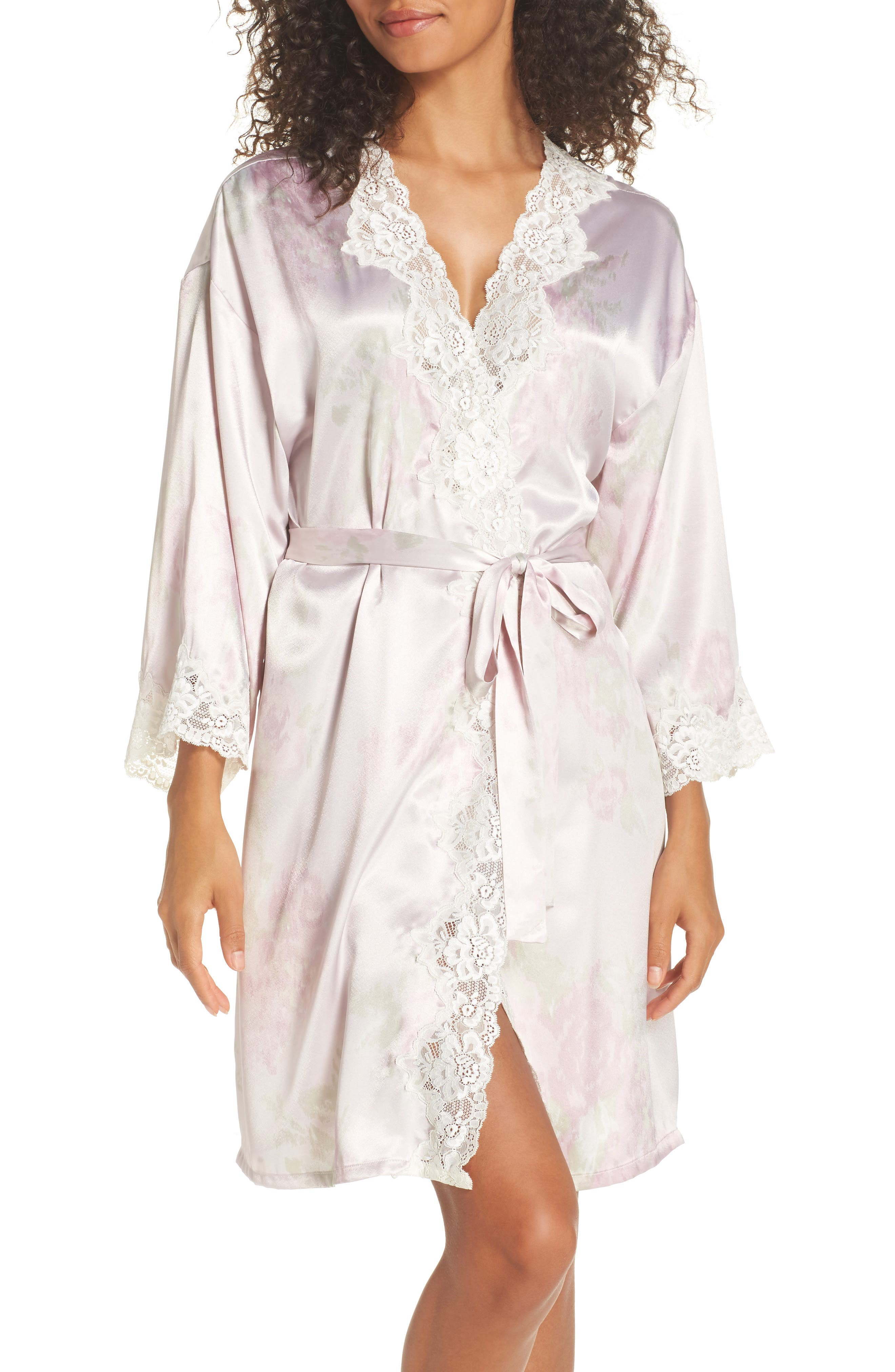 Lace & Satin Robe,                             Main thumbnail 1, color,                             Pink Ground Floral