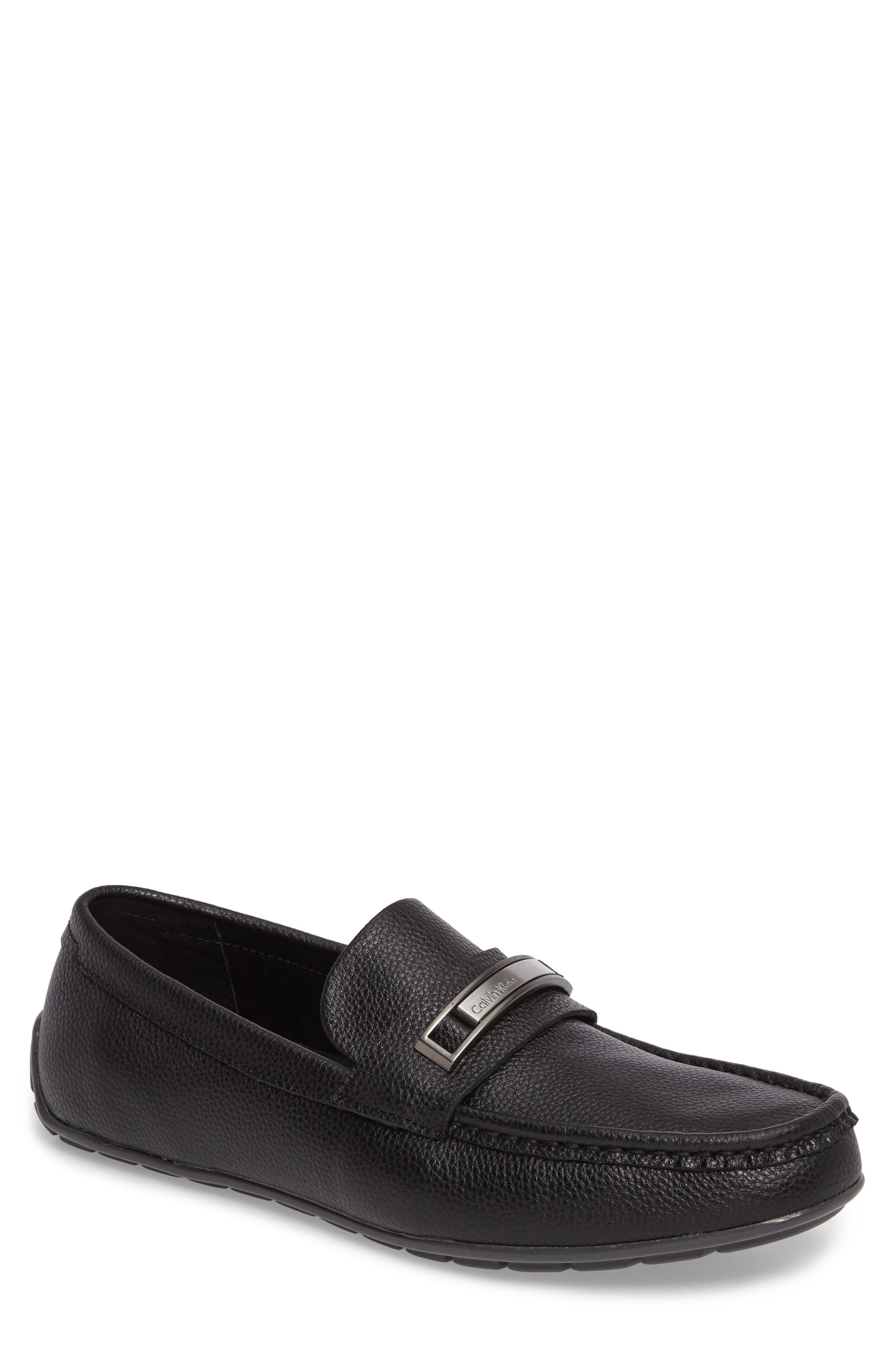 Irving Driving Loafer,                         Main,                         color, Black Tumbled Leather