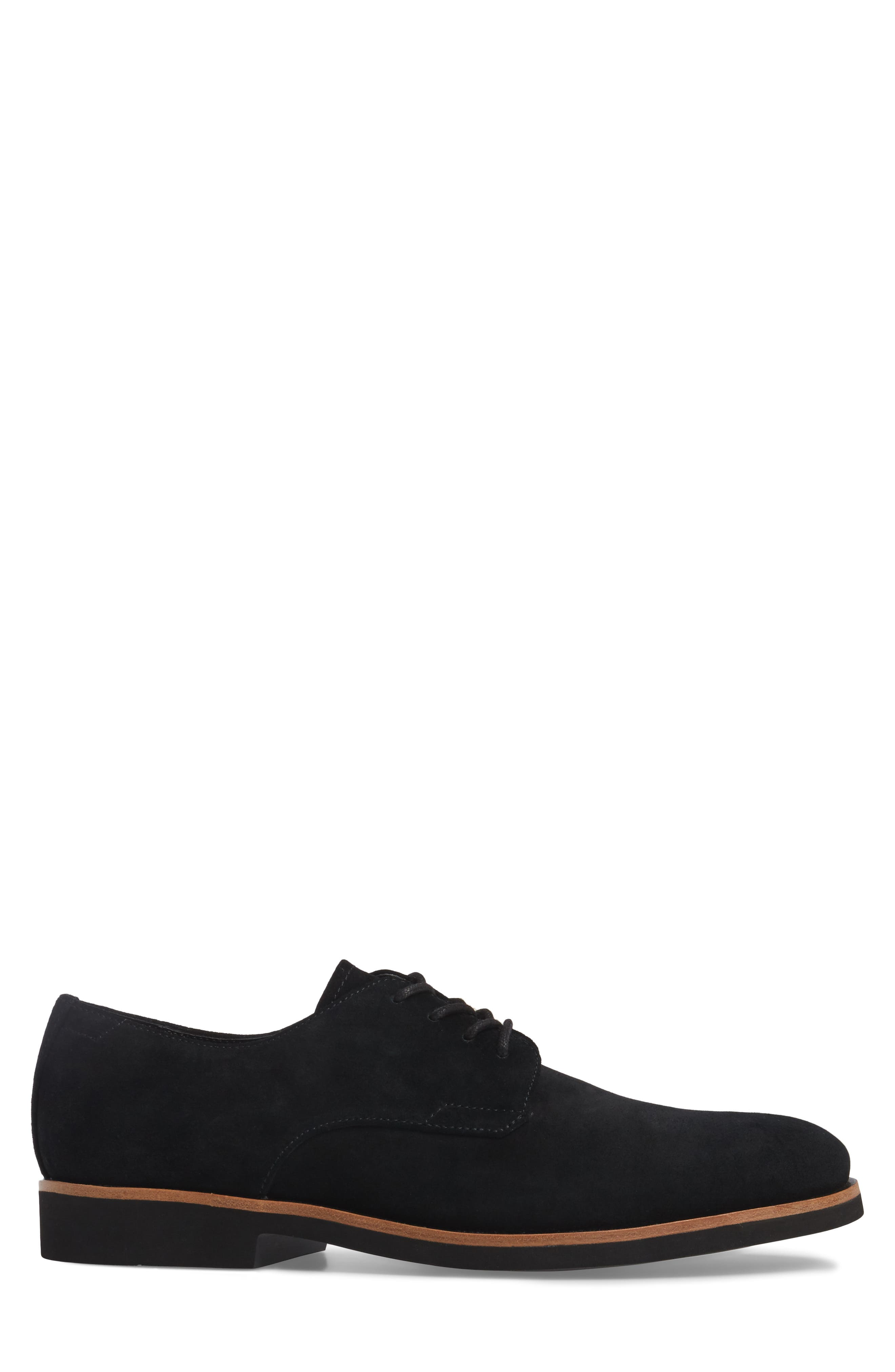 Faustino Plain Toe Derby,                             Alternate thumbnail 3, color,                             Black Suede