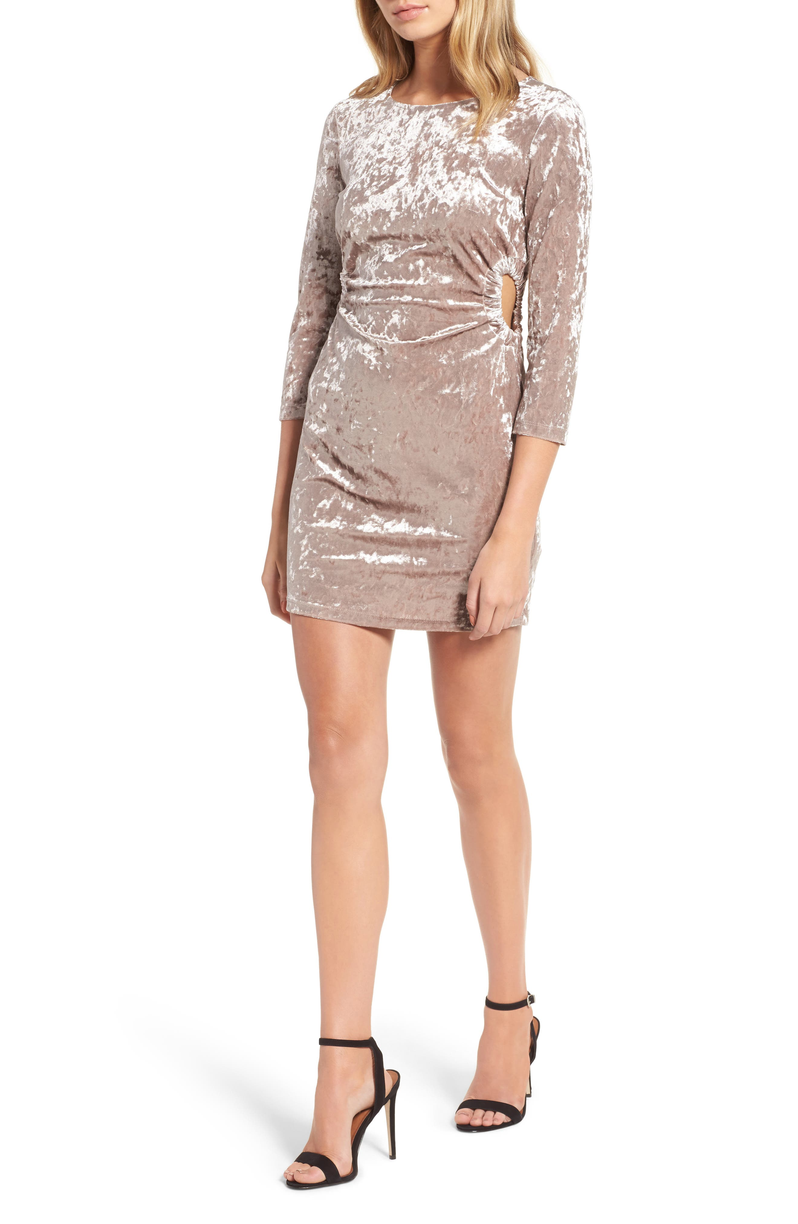 Cutout Velvet Dress,                         Main,                         color, Oyster