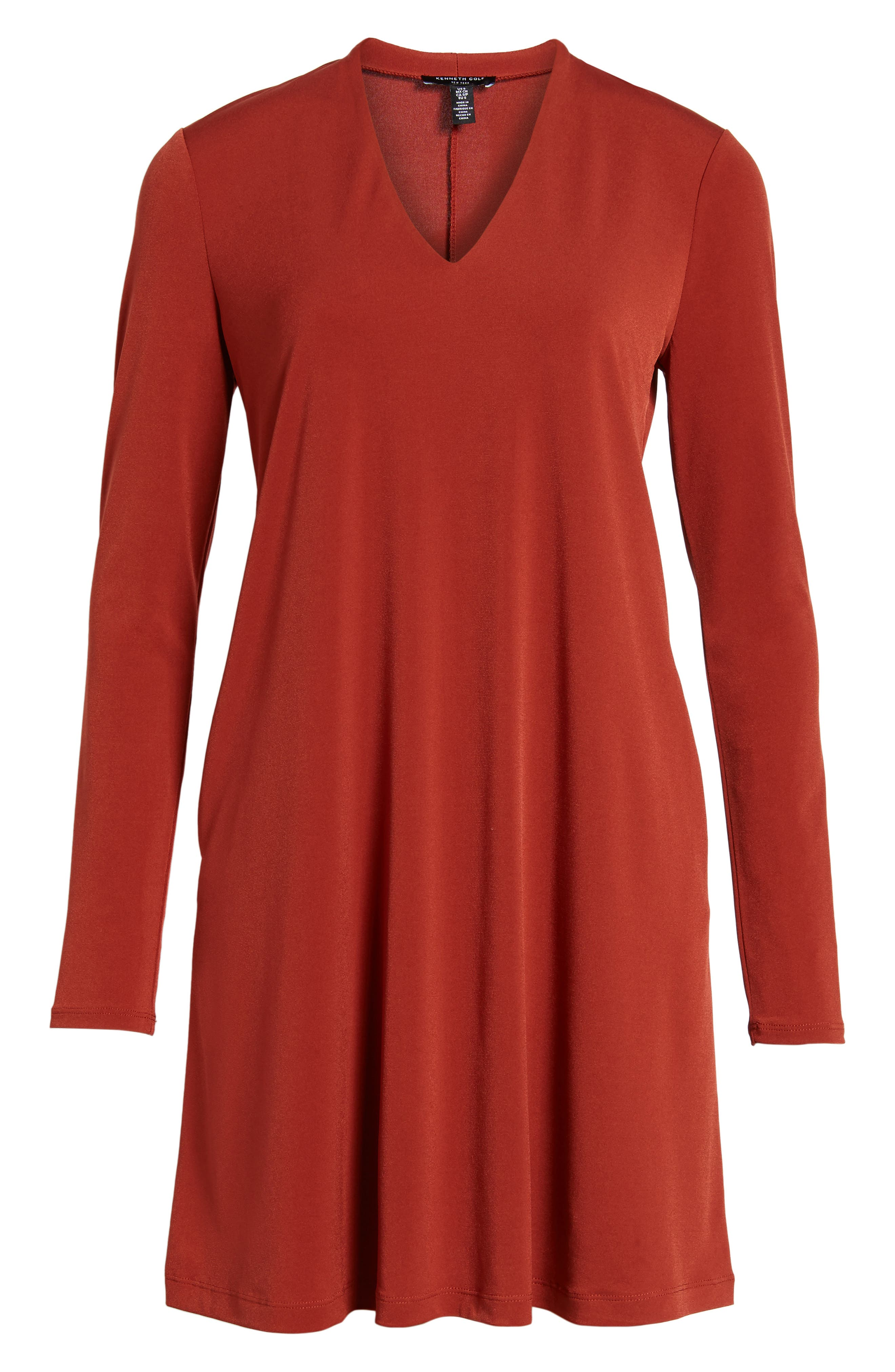 V-Neck A-Line Dress,                             Alternate thumbnail 6, color,                             Red Clay