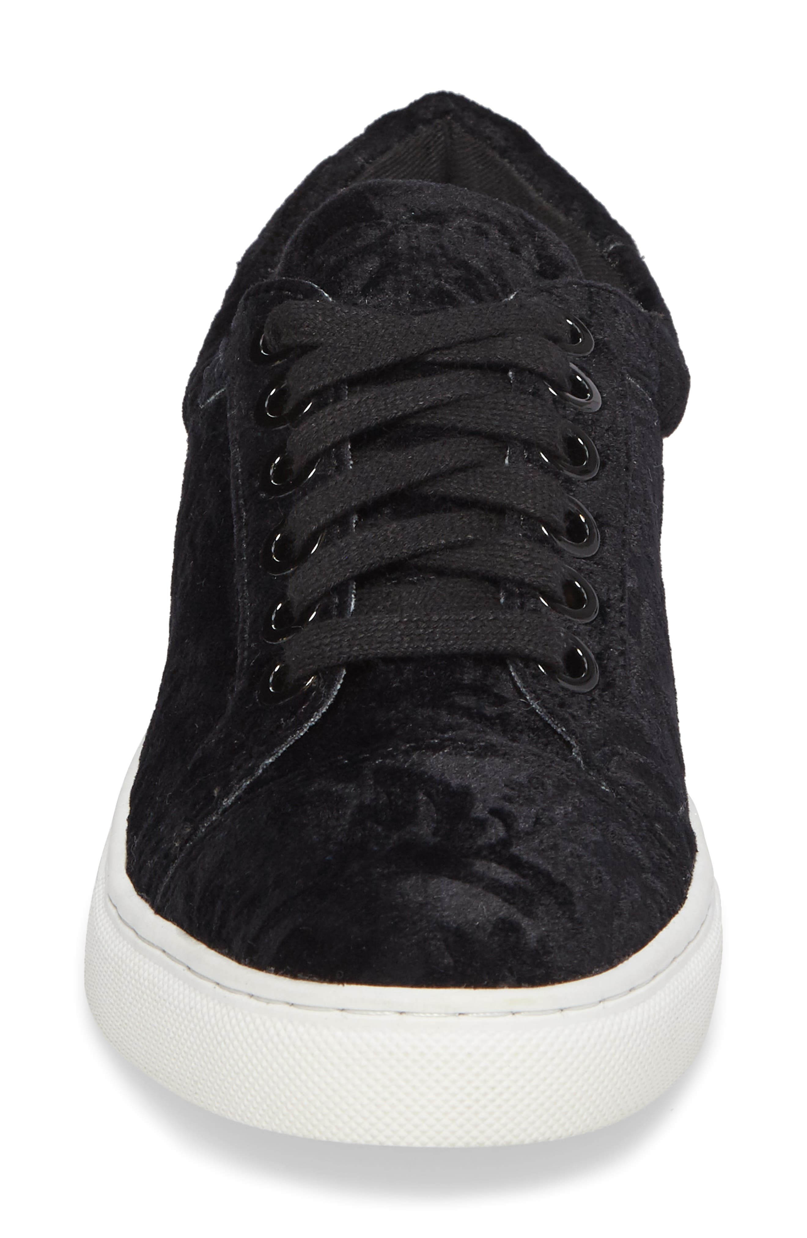 Bleecker Too Sneaker,                             Alternate thumbnail 4, color,                             Black Floral Velvet