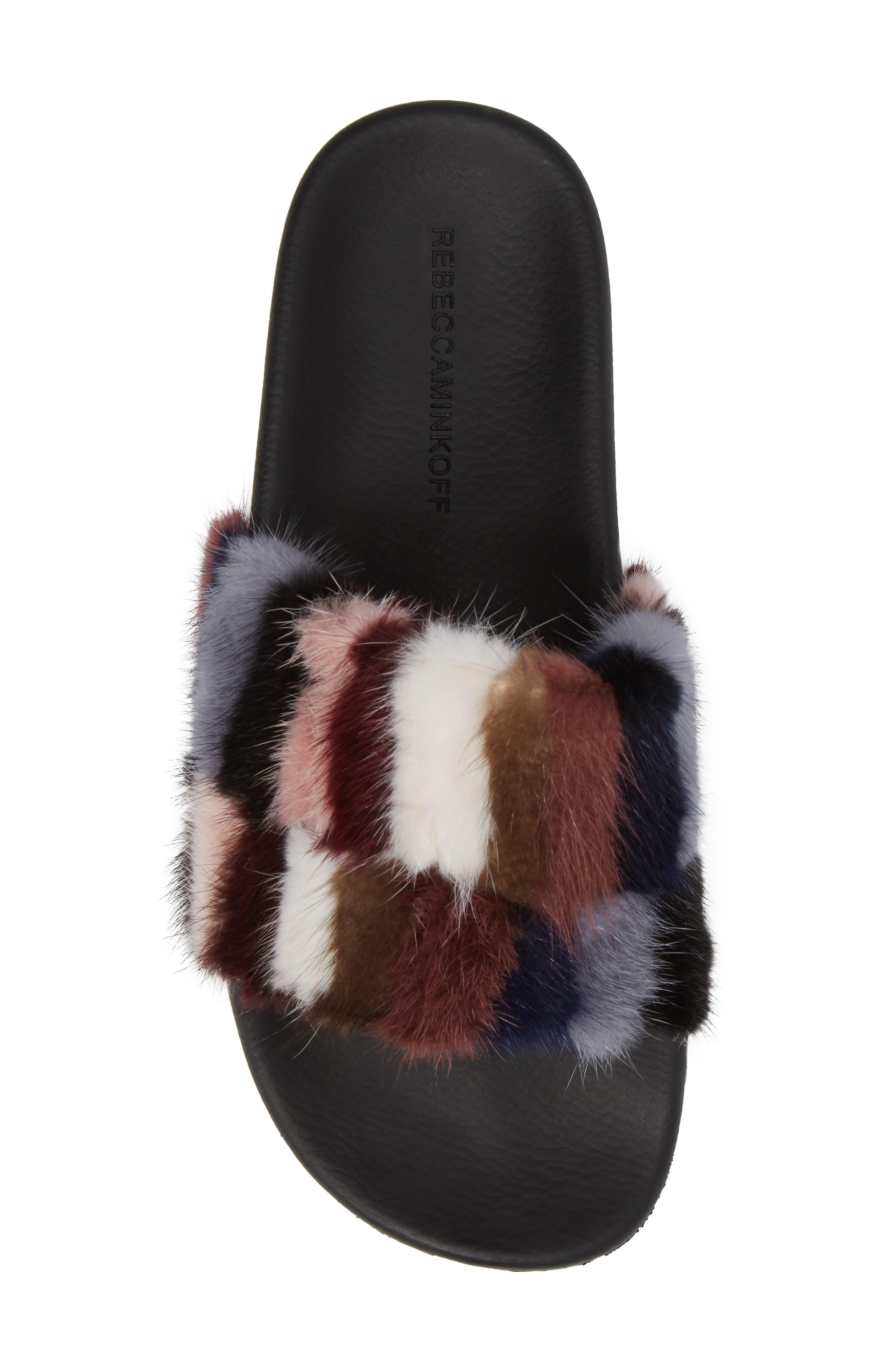 Sammi Genuine Fur Slide Sandal,                             Alternate thumbnail 5, color,                             Multi Fur