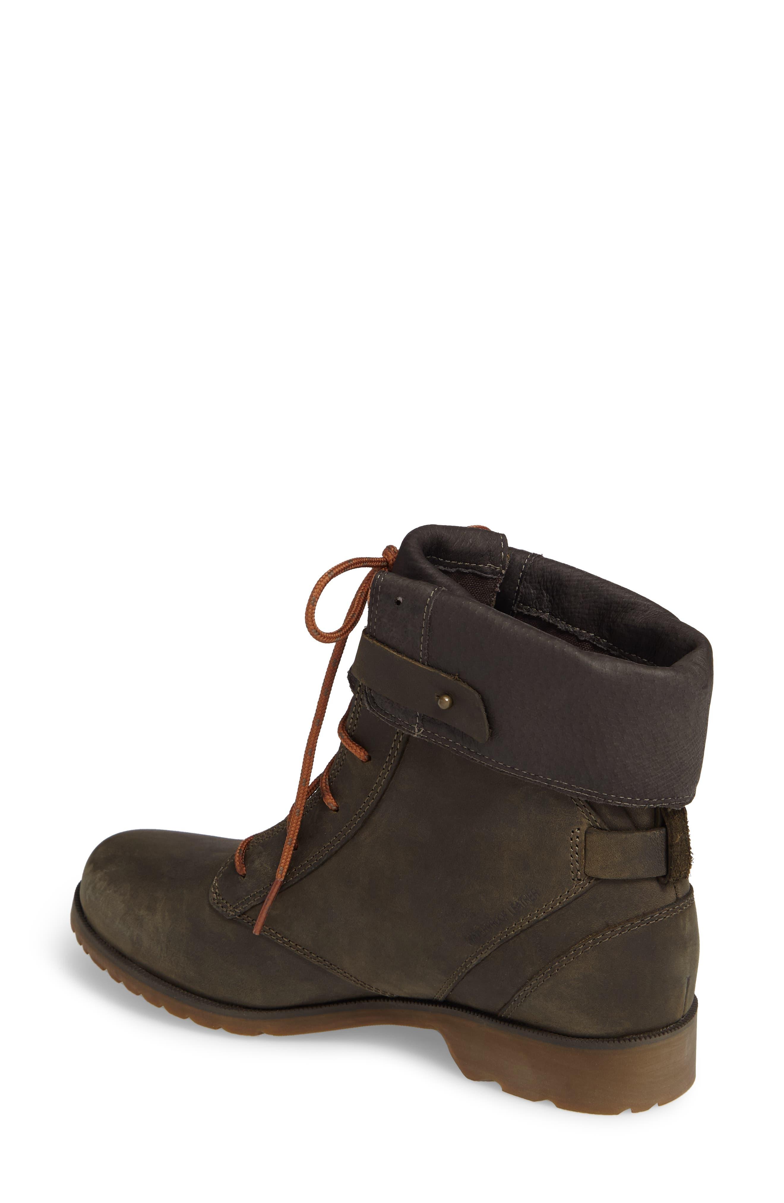'De La Vina' Waterproof Lace-Up Boot,                             Alternate thumbnail 2, color,                             Dark Olive Leather