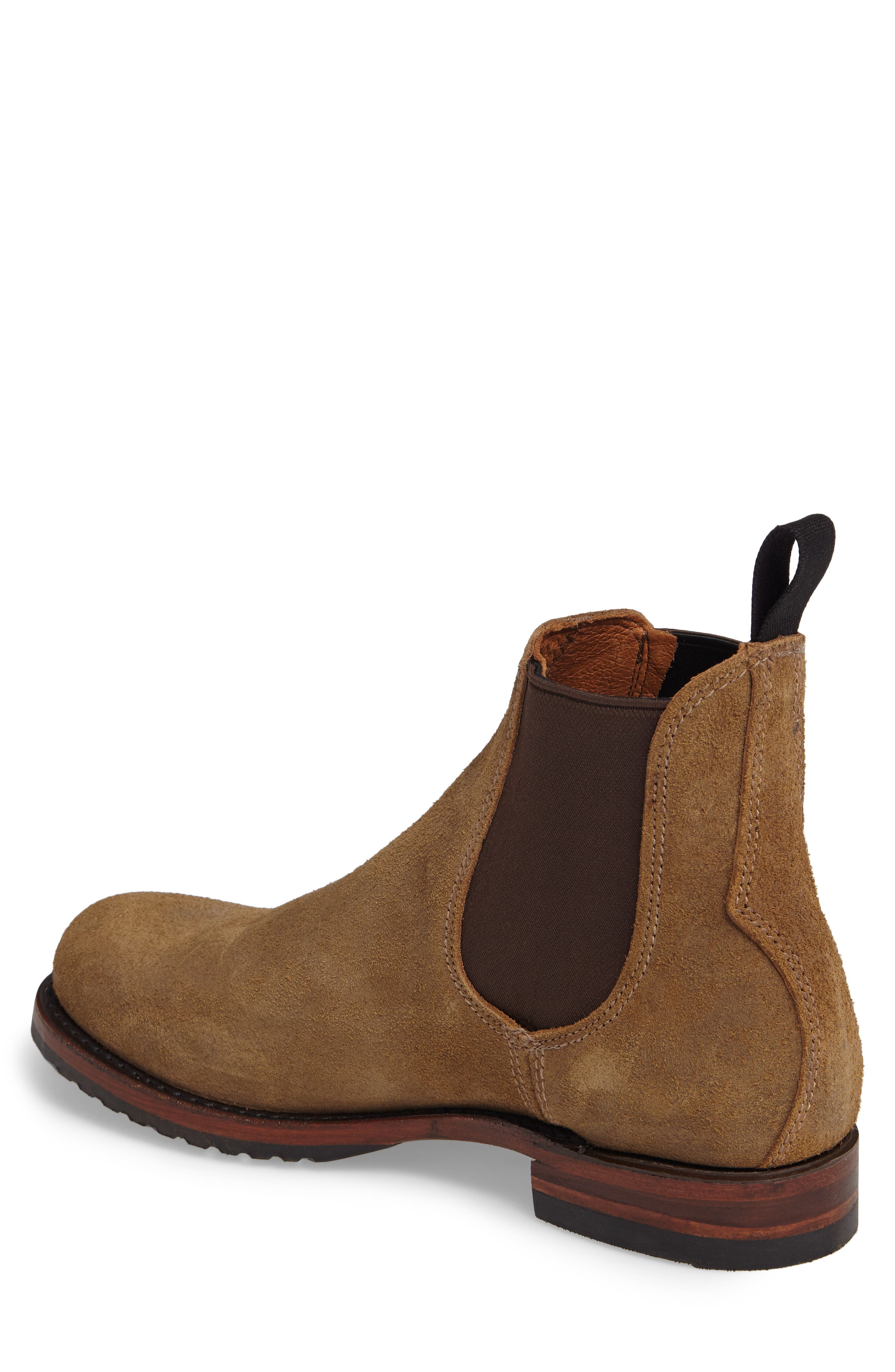 Logan Chelsea Boot,                             Alternate thumbnail 2, color,                             Chestnut Waxed Suede