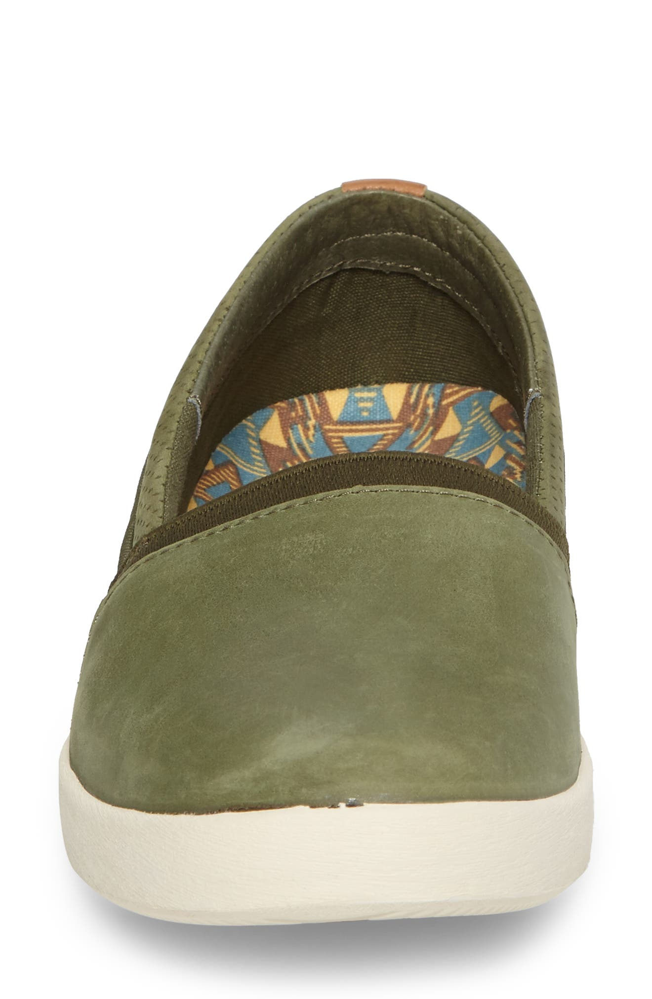 Willow Slip-On Sneaker,                             Alternate thumbnail 3, color,                             Olive Leather
