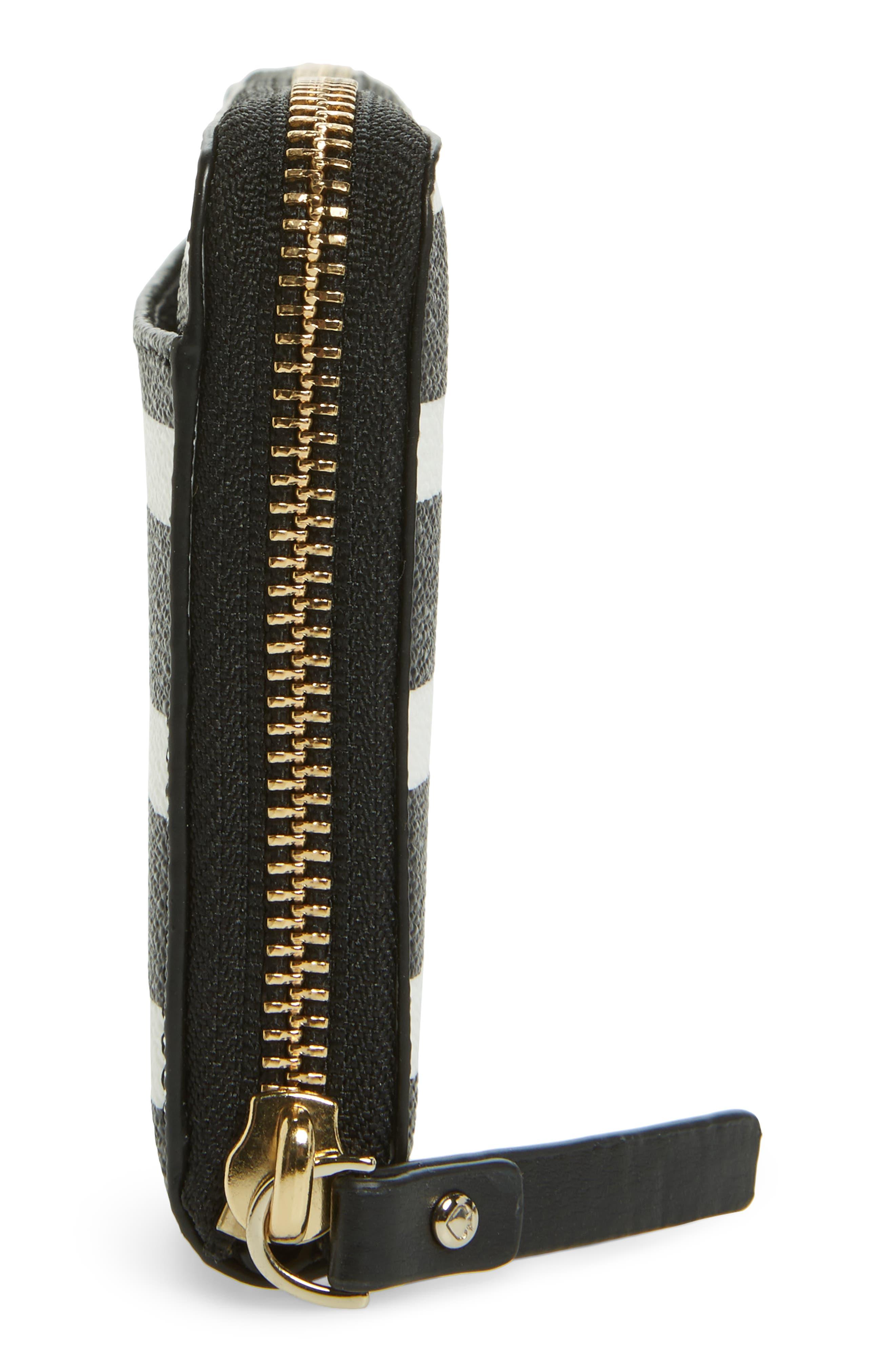 hyde lane - michele stripe wallet,                             Alternate thumbnail 4, color,                             Black/ Cream