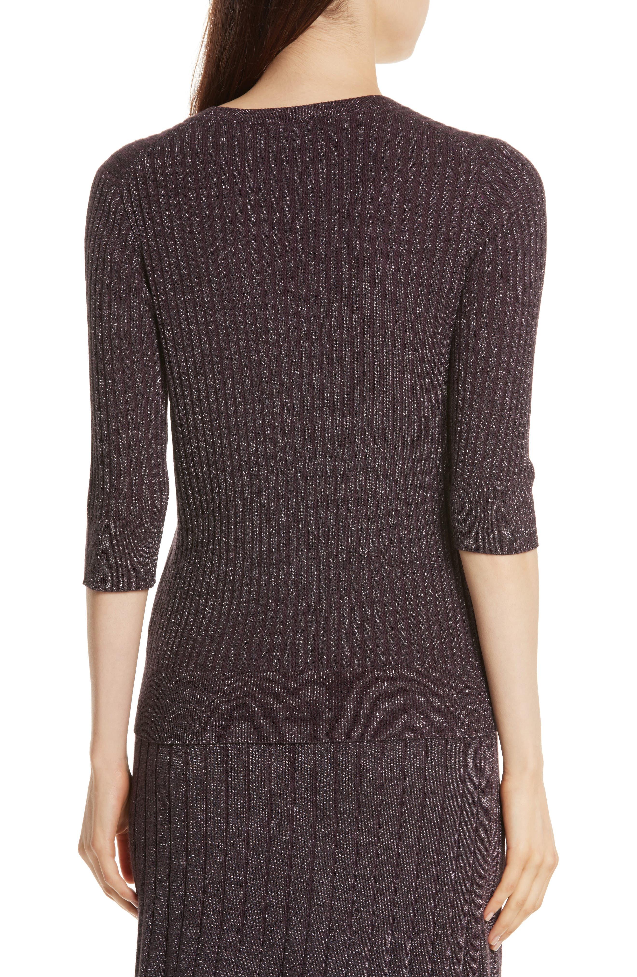 Alternate Image 2  - Rebecca Taylor Metallic Rib Sweater