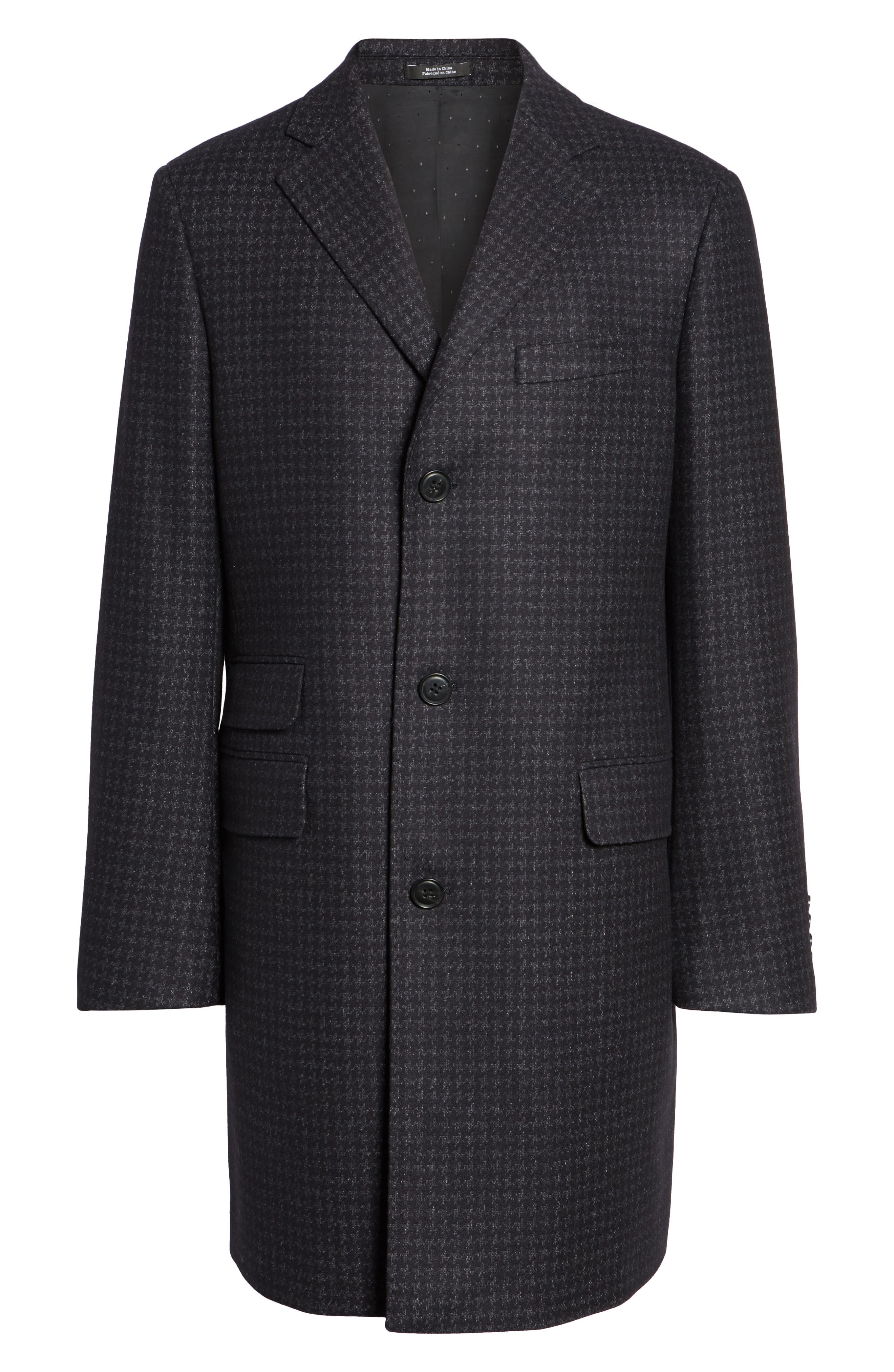 Jackson Houndstooth Wool Blend Overcoat,                             Alternate thumbnail 6, color,                             Navy