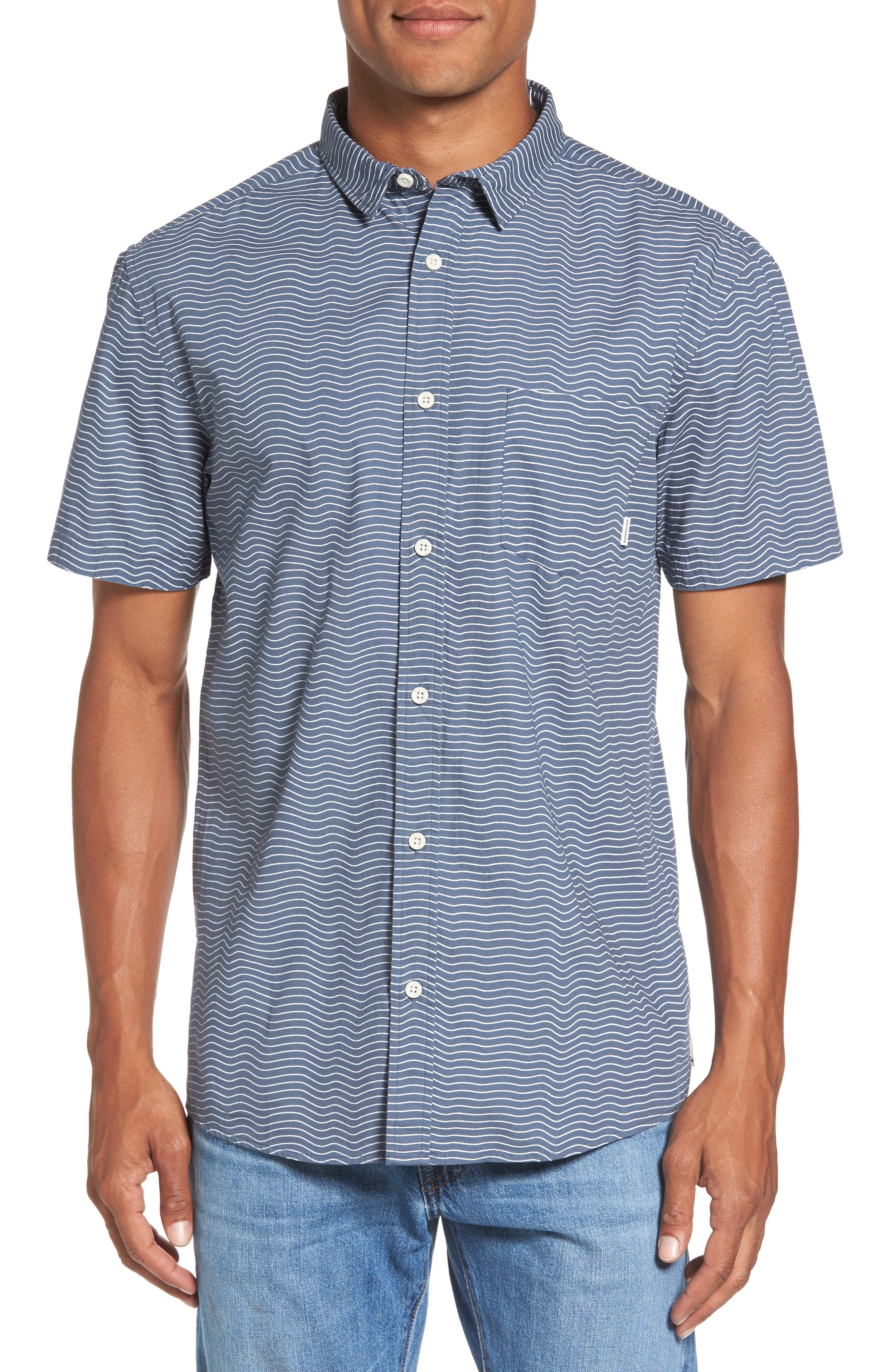 Heat Wave Stripe Shirt,                             Main thumbnail 1, color,                             Blue