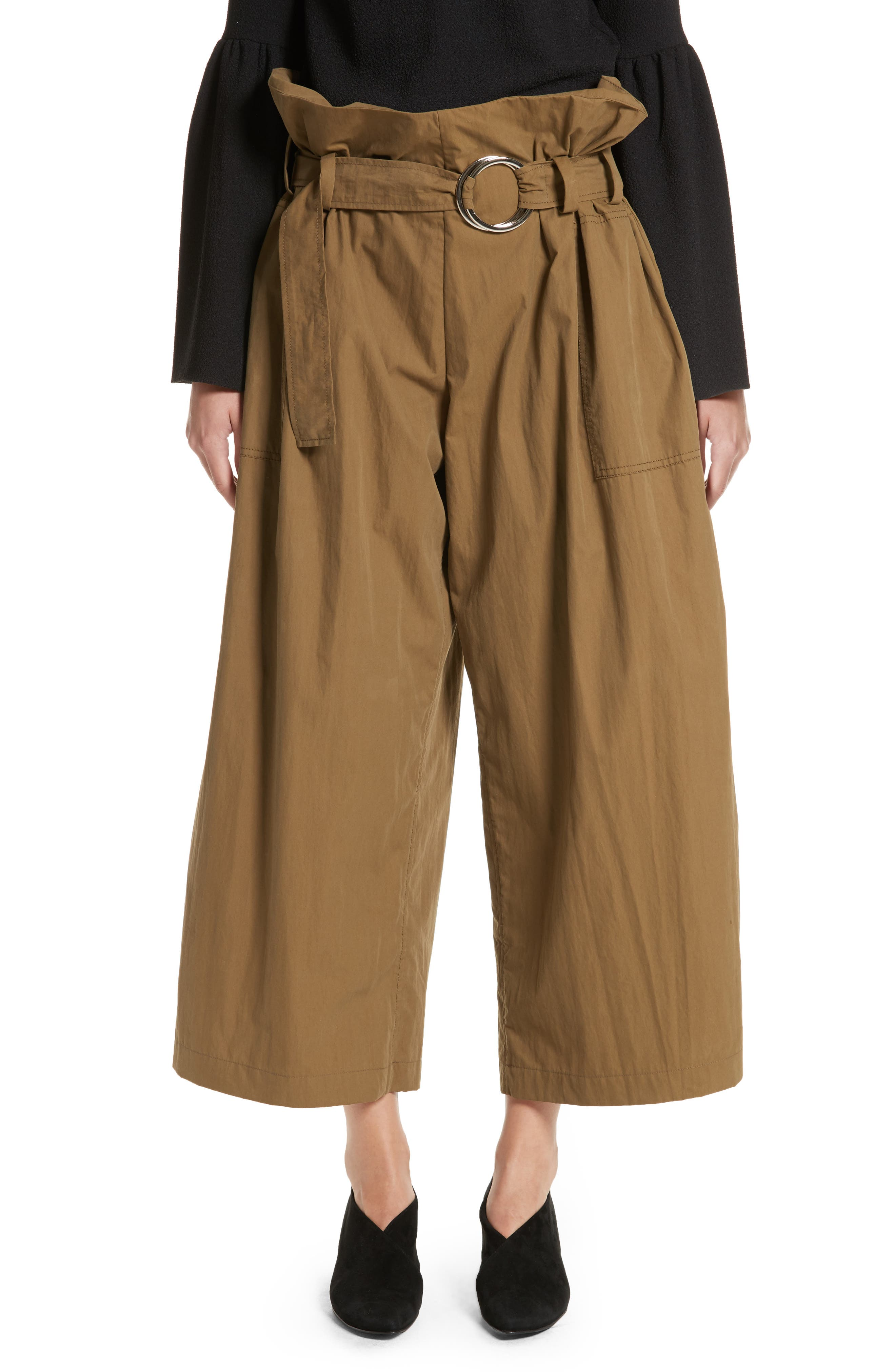Tilly Belted Paperbag Pants,                         Main,                         color, Khaki