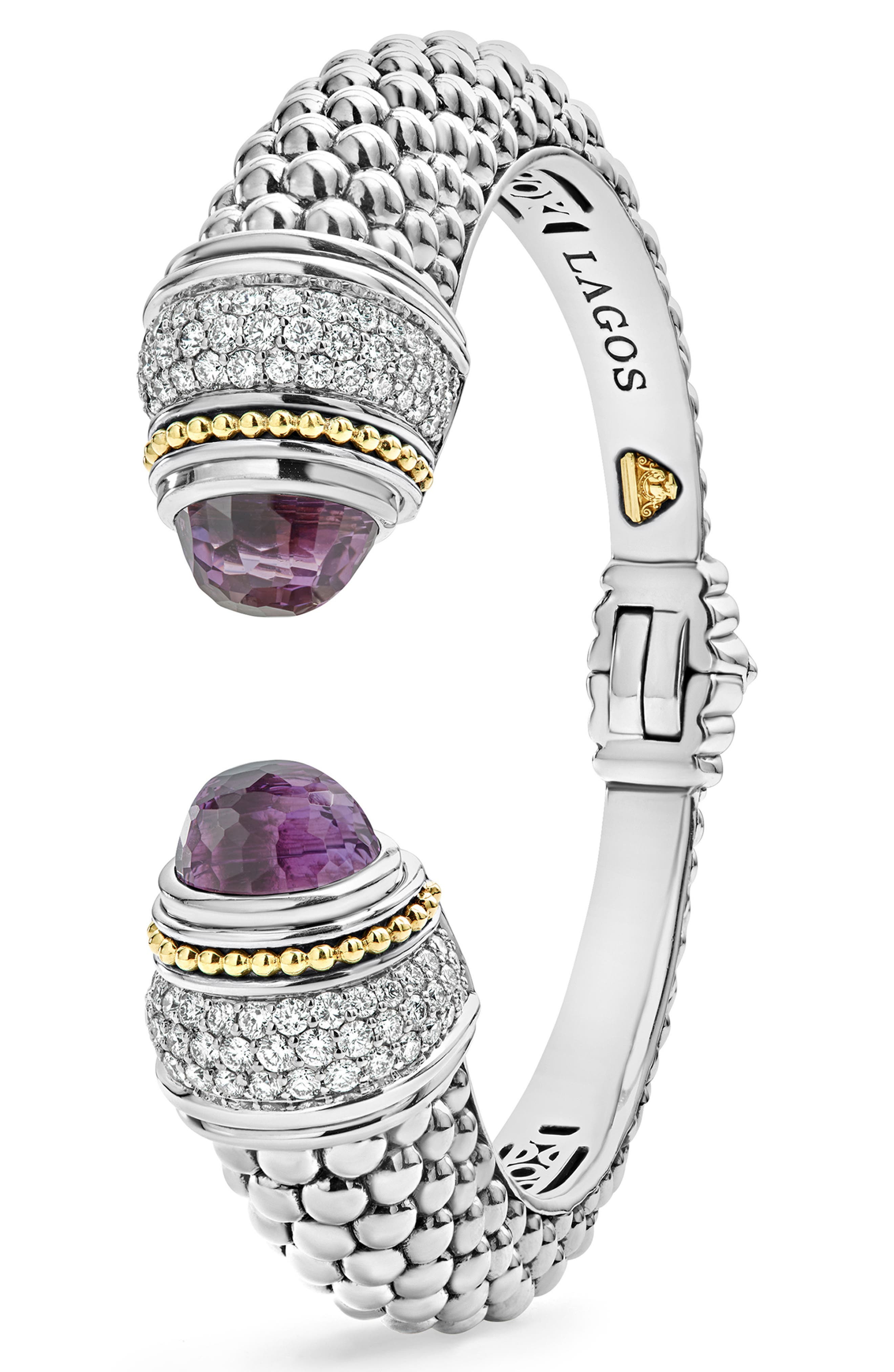 Caviar Diamond & Semiprecious Stone Wrist Cuff,                             Alternate thumbnail 4, color,                             Amethyst
