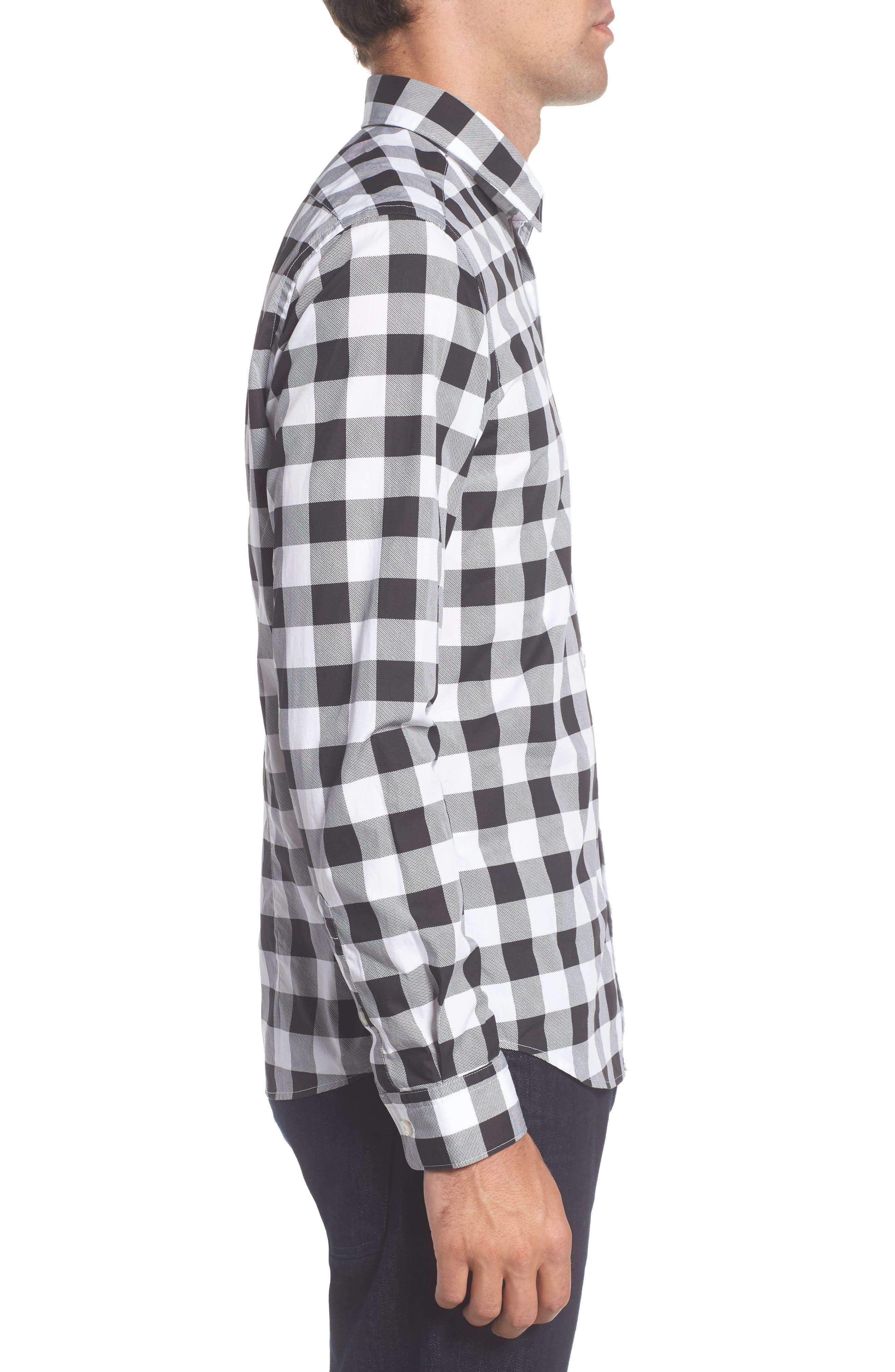 Lance Regular Fit Buffalo Plaid Sport Shirt,                             Alternate thumbnail 3, color,                             Black/ White
