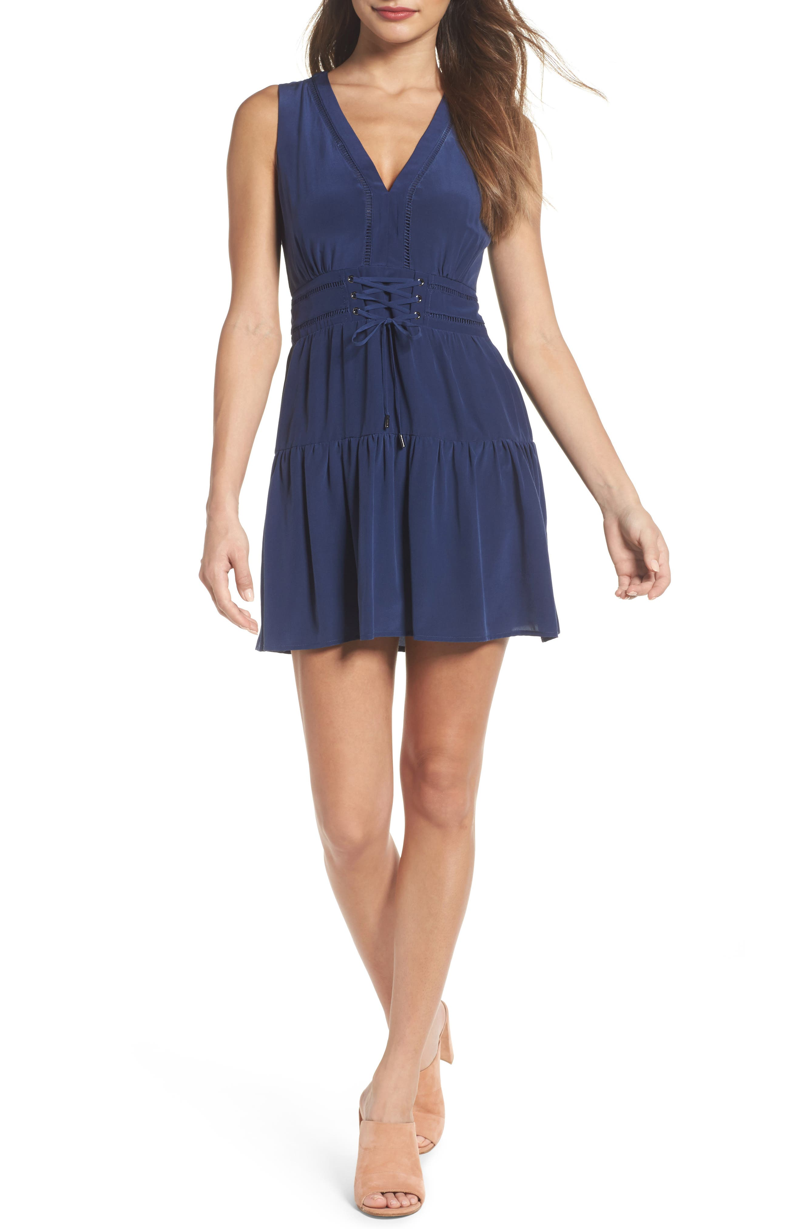 Bilson Fit & Flare Silk Dress,                         Main,                         color, Marine