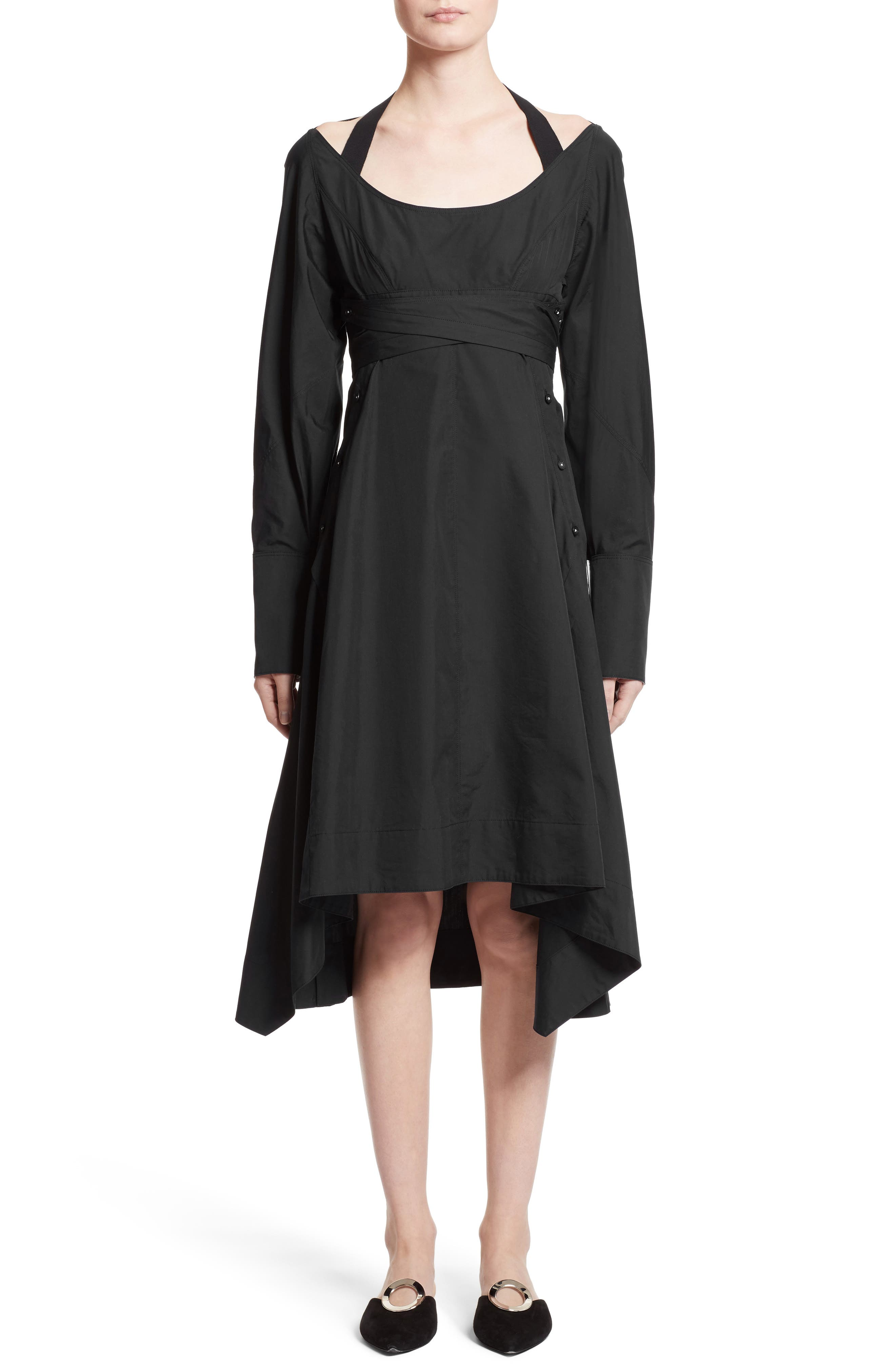 Cotton Poplin Wrap Dress,                             Main thumbnail 1, color,                             Black