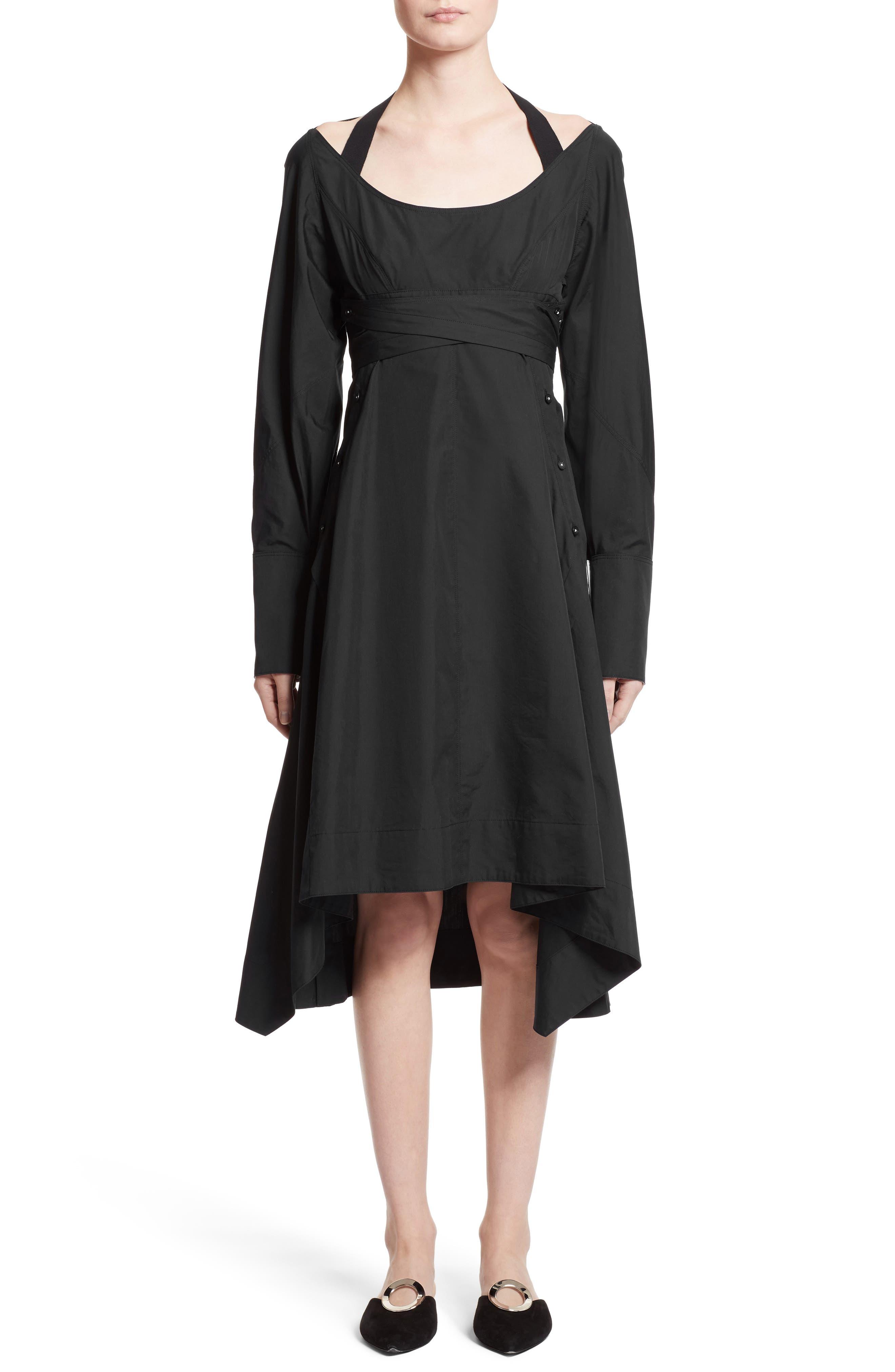 Cotton Poplin Wrap Dress,                         Main,                         color, Black