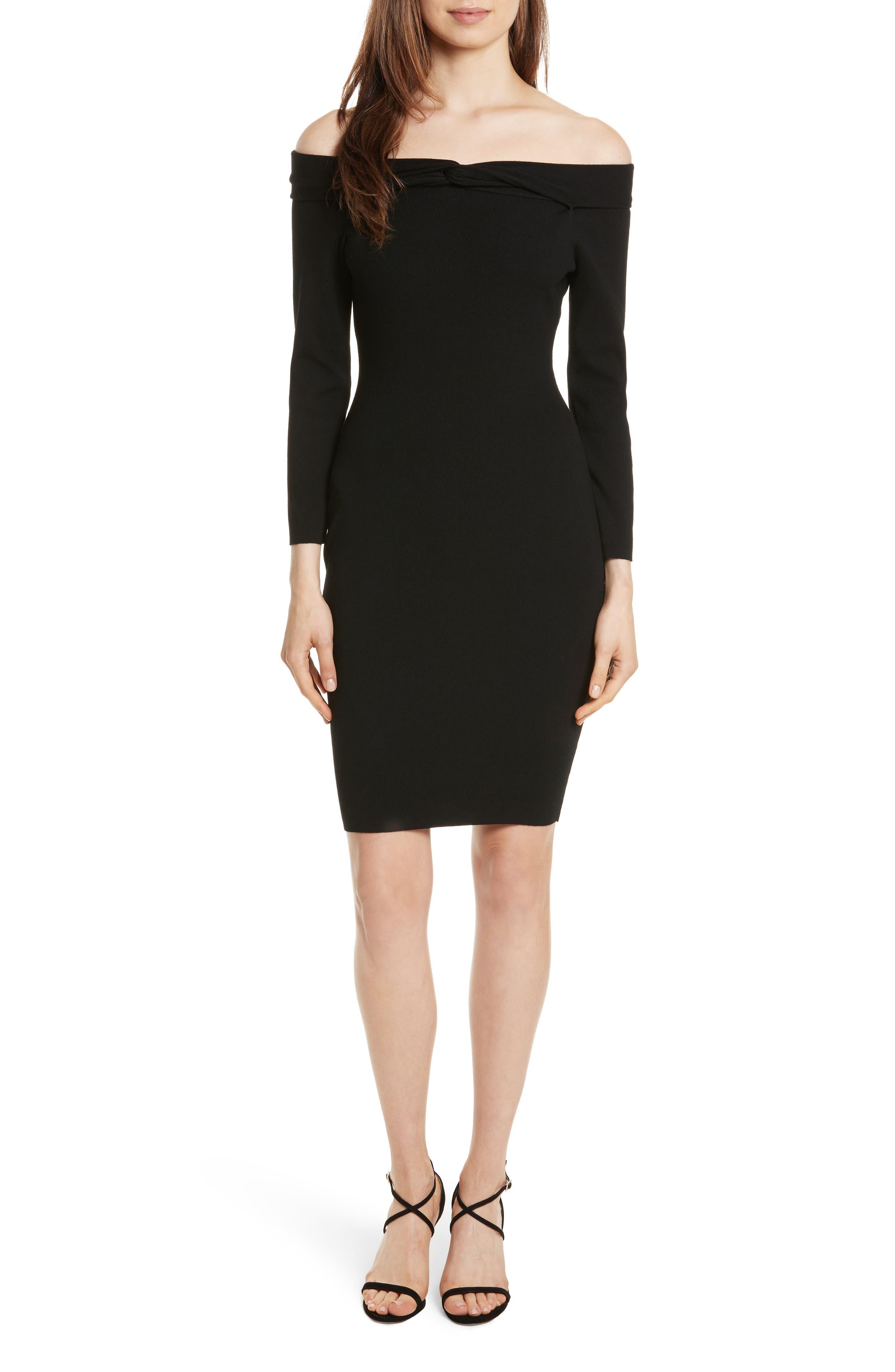 Twisted Off the Shoulder Dress,                         Main,                         color, Black