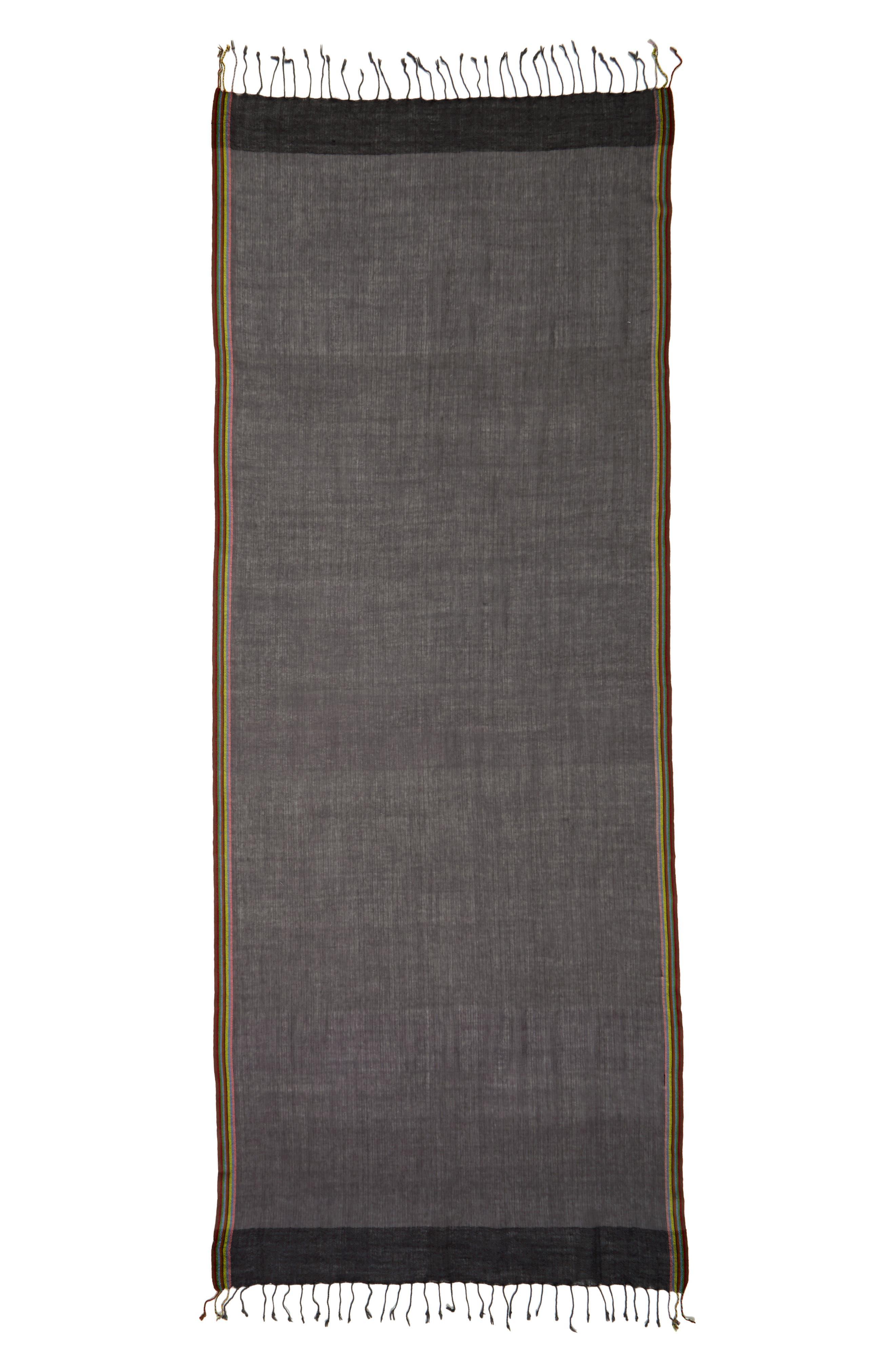Stripe Herringbone Wool Scarf,                             Alternate thumbnail 2, color,                             Grey