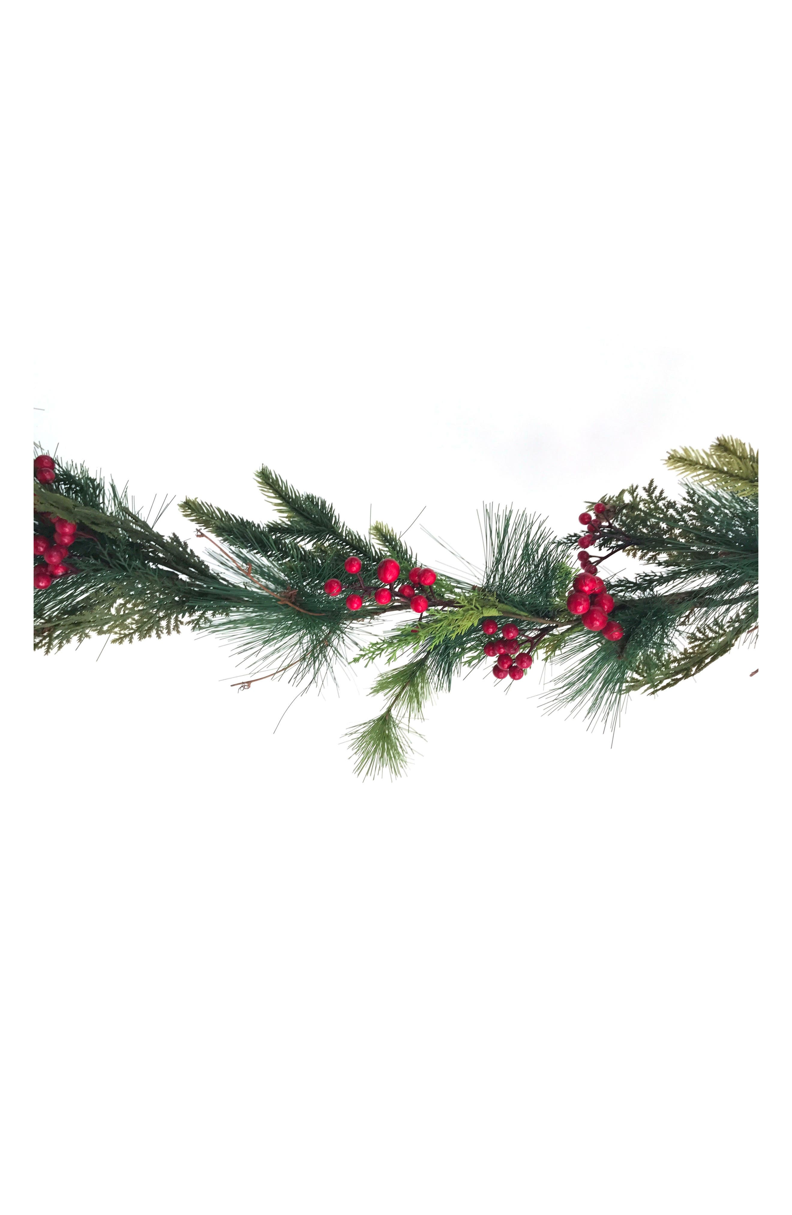 Red Berry Pine Garland,                         Main,                         color, Green/ Red