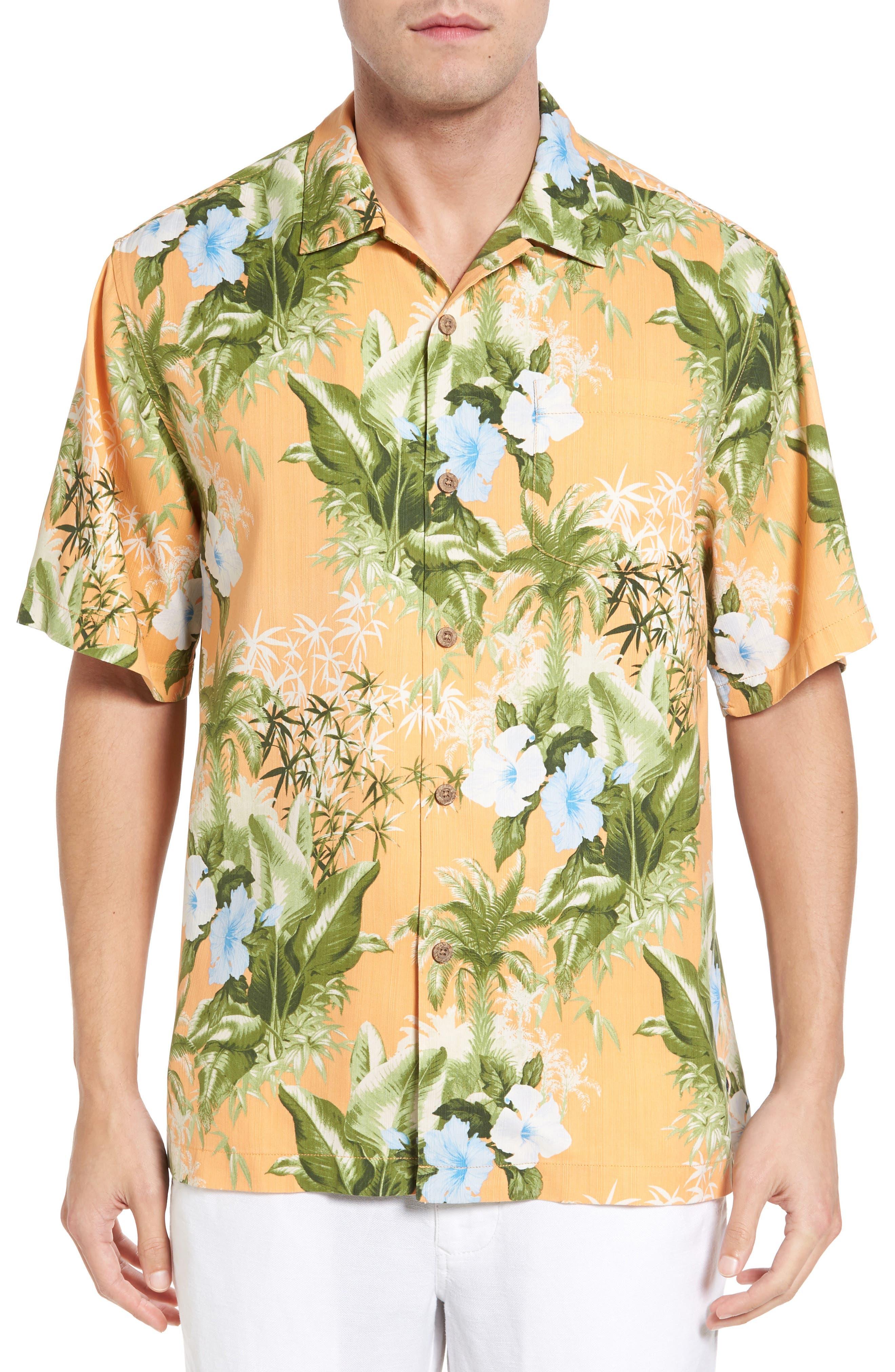 Main Image - Tommy Bahama Corfu Jungle Silk Camp Shirt