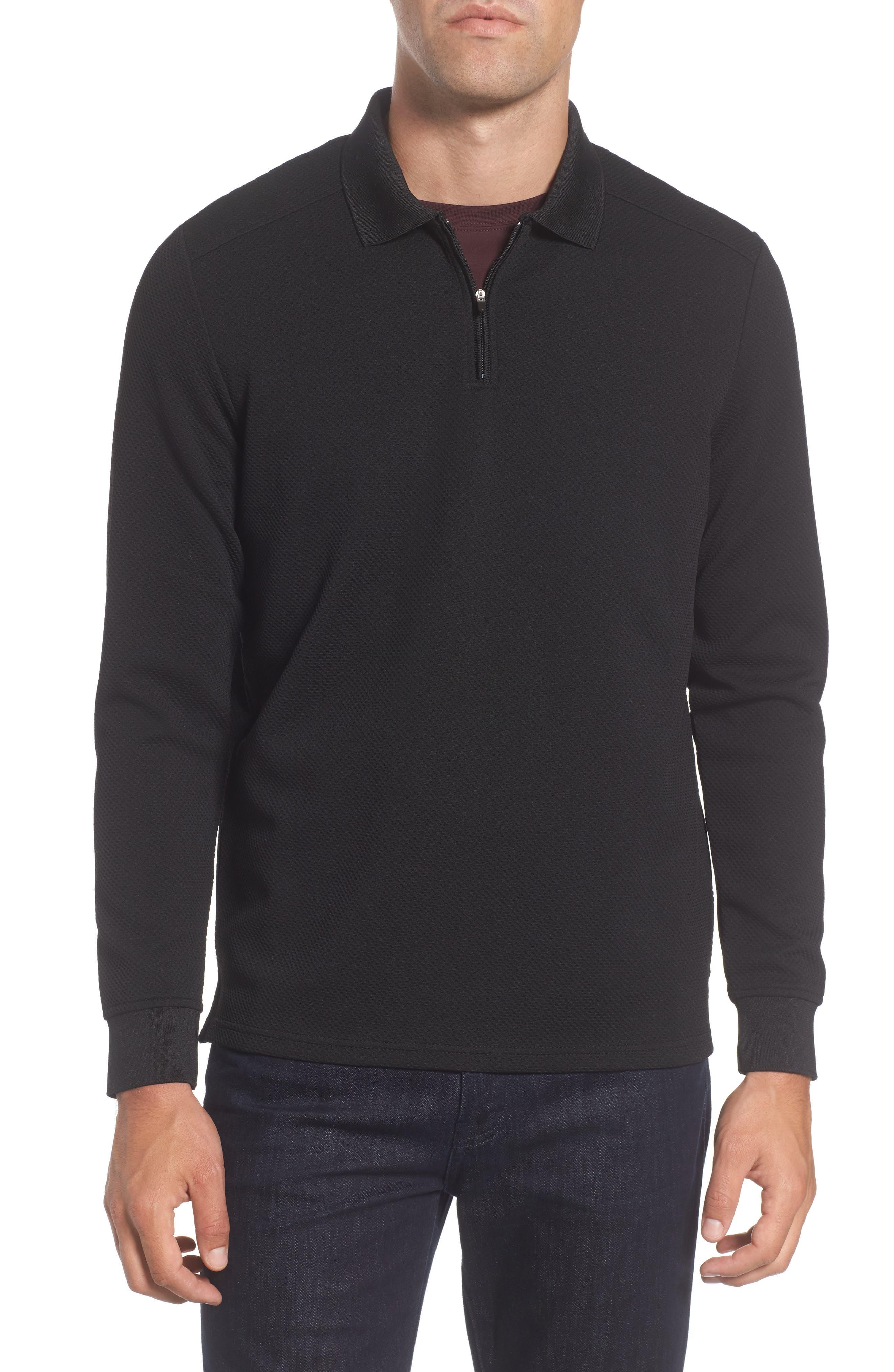Long Sleeve Zip Polo,                             Main thumbnail 1, color,                             86599 Black