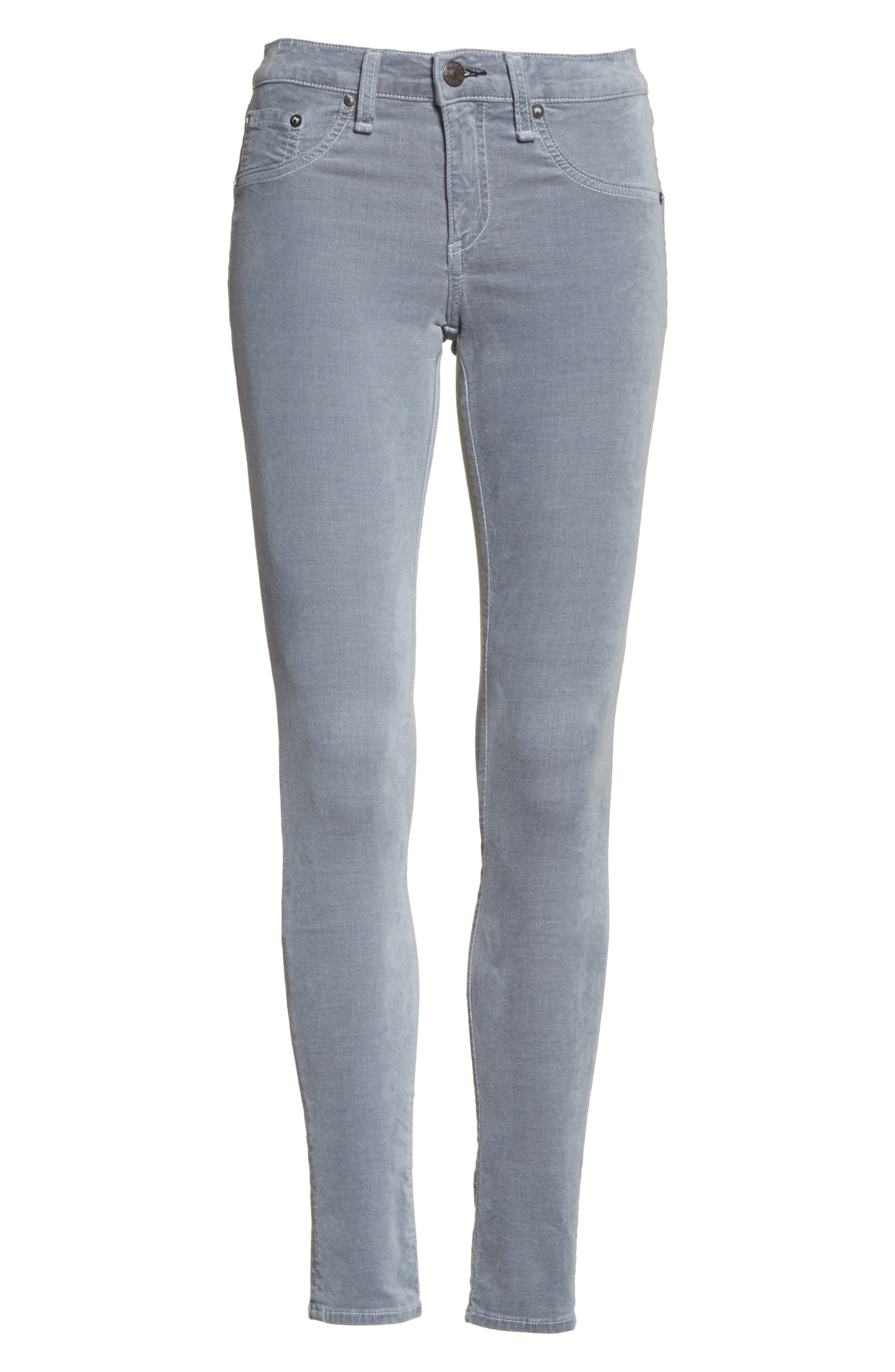 Velvet Skinny Jeans,                             Alternate thumbnail 6, color,                             Steel Blue Velvet