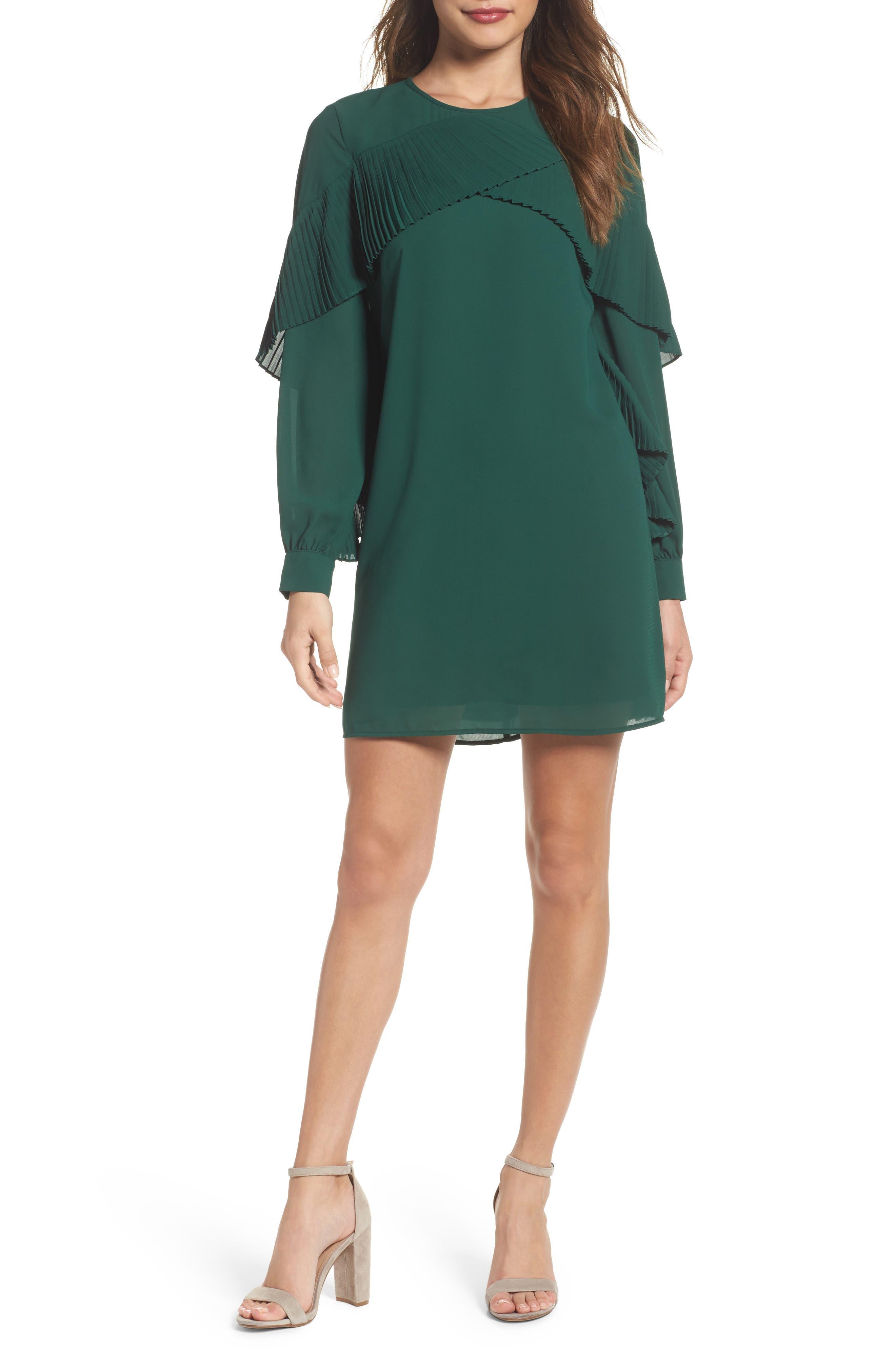 Ruffle Shift Dress,                             Main thumbnail 1, color,                             Green Evergreen
